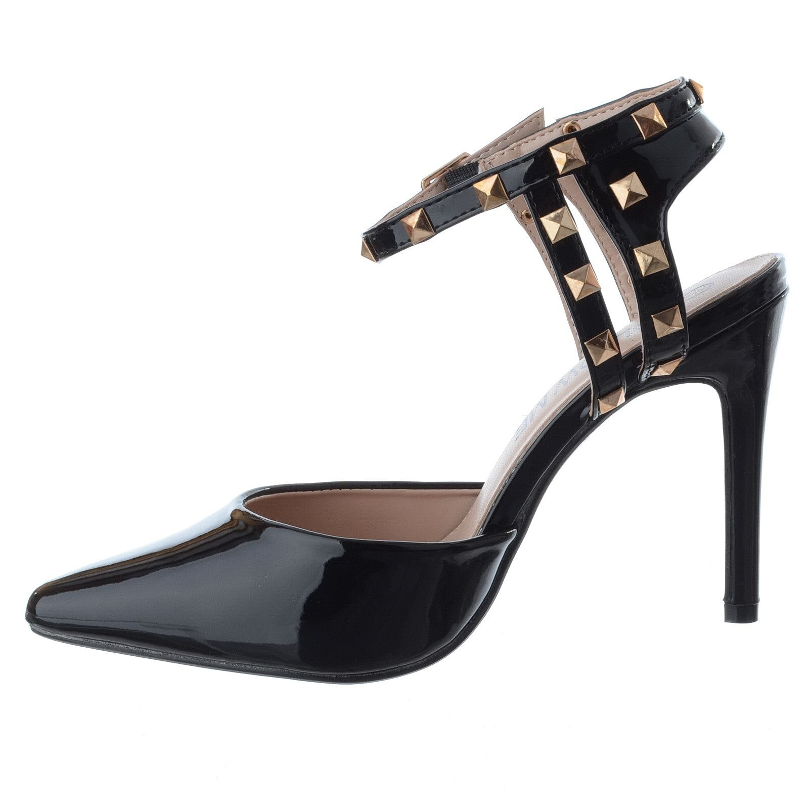NEW WOMENS LADIES ANKLE STRAP STUD HIGH STILETTO HEEL POINTY SANDALS SHOES SIZE