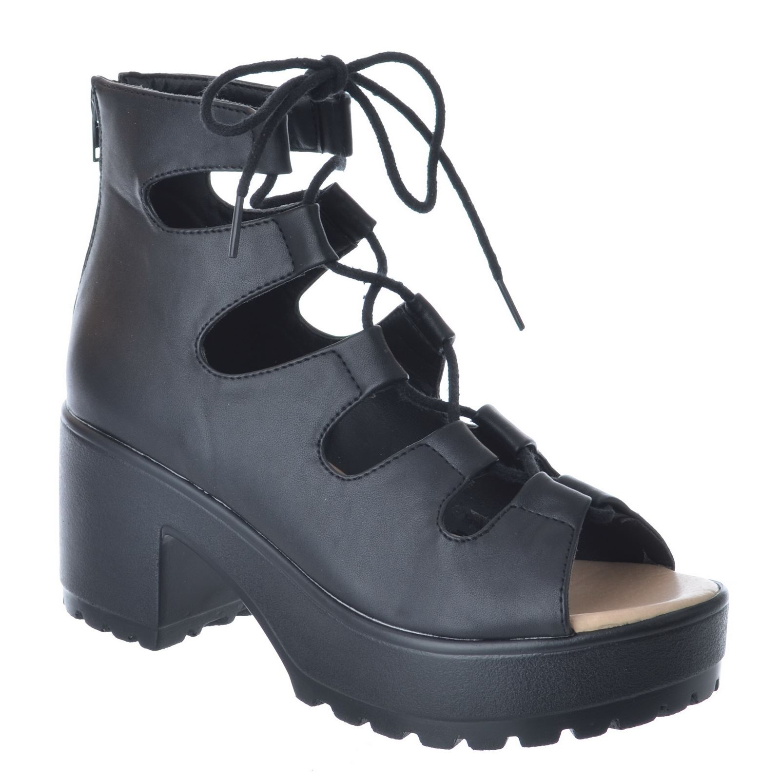 SPYLOVEBUY RAVE Womens Lace Up Cleated Sole Block Heel