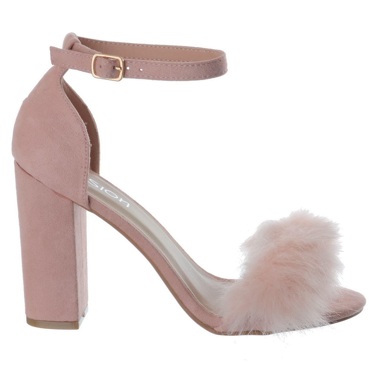 7589e28a9d2 New Womens Fluffy Faux Fur High Block Heel Peep Toe Ladies Sandals ...