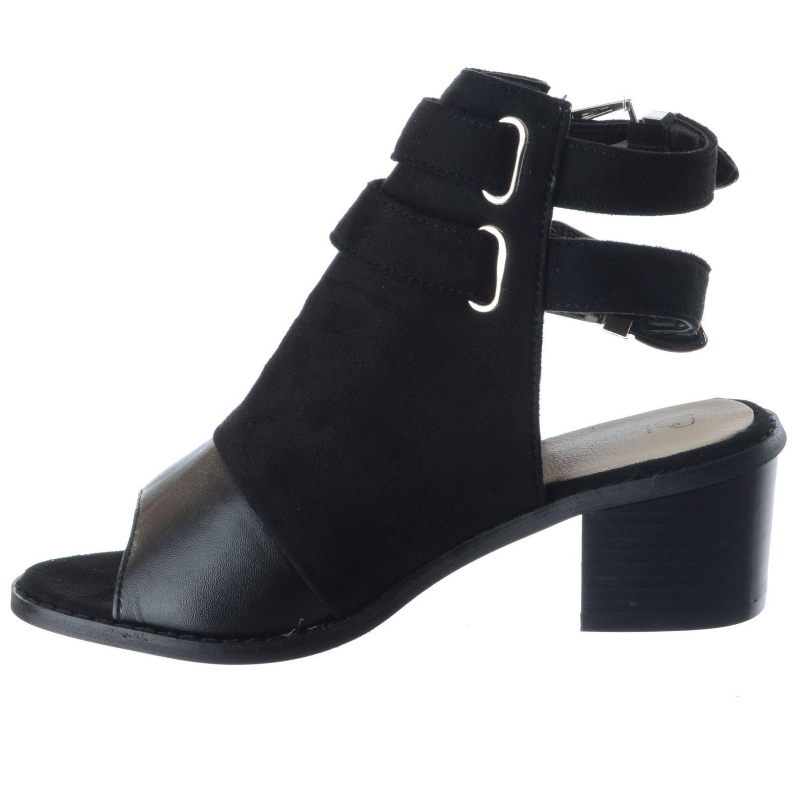 Señoras mujeres Mediados Bloque Talón Gemelo Hebilla Correa en el Tobillo Peep Toe Sandalias Zapatos Talla