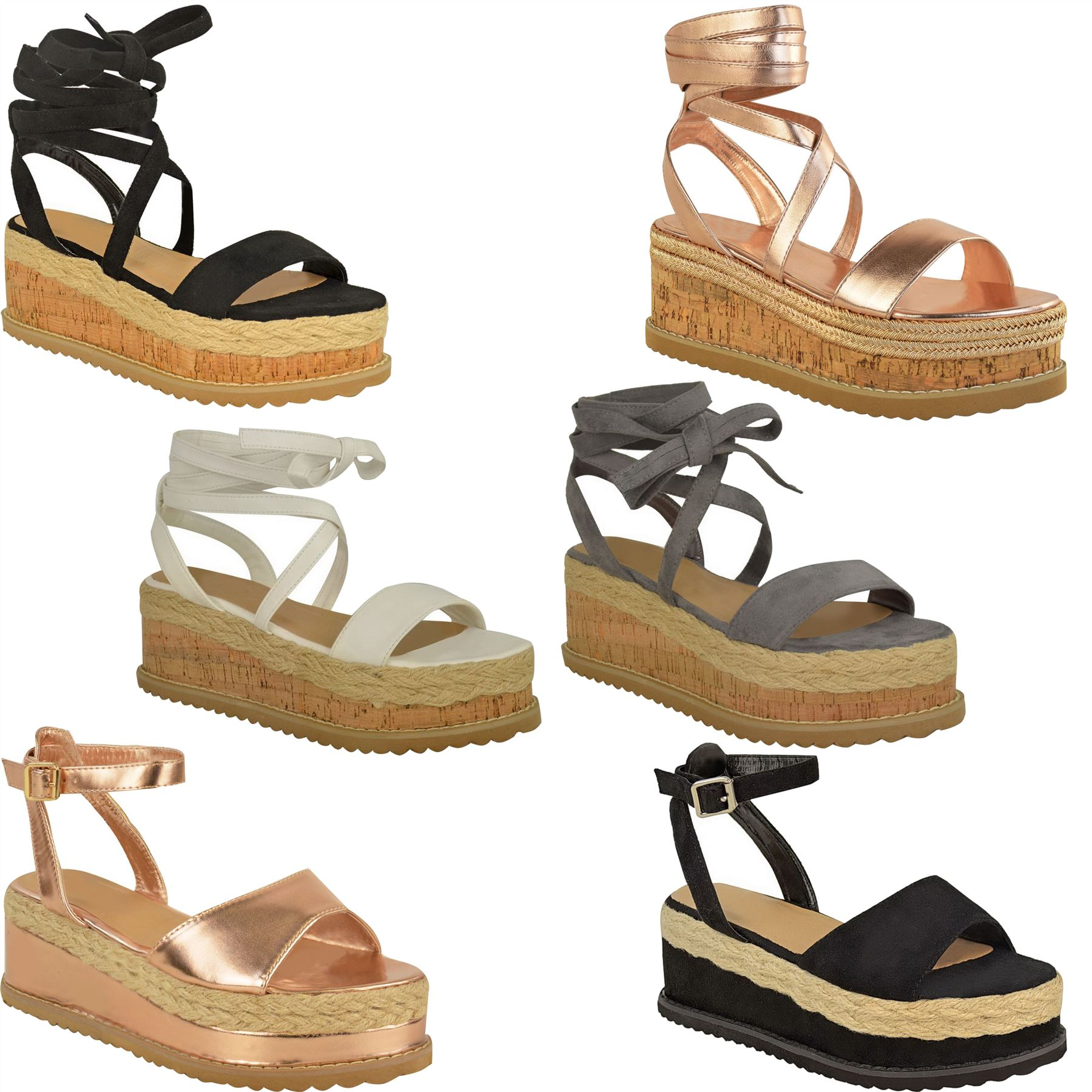 2df27750a Details about Womens Ladies Flat Wedge Platform Espadrille Sandals Lace Tie  Up Summer Shoes