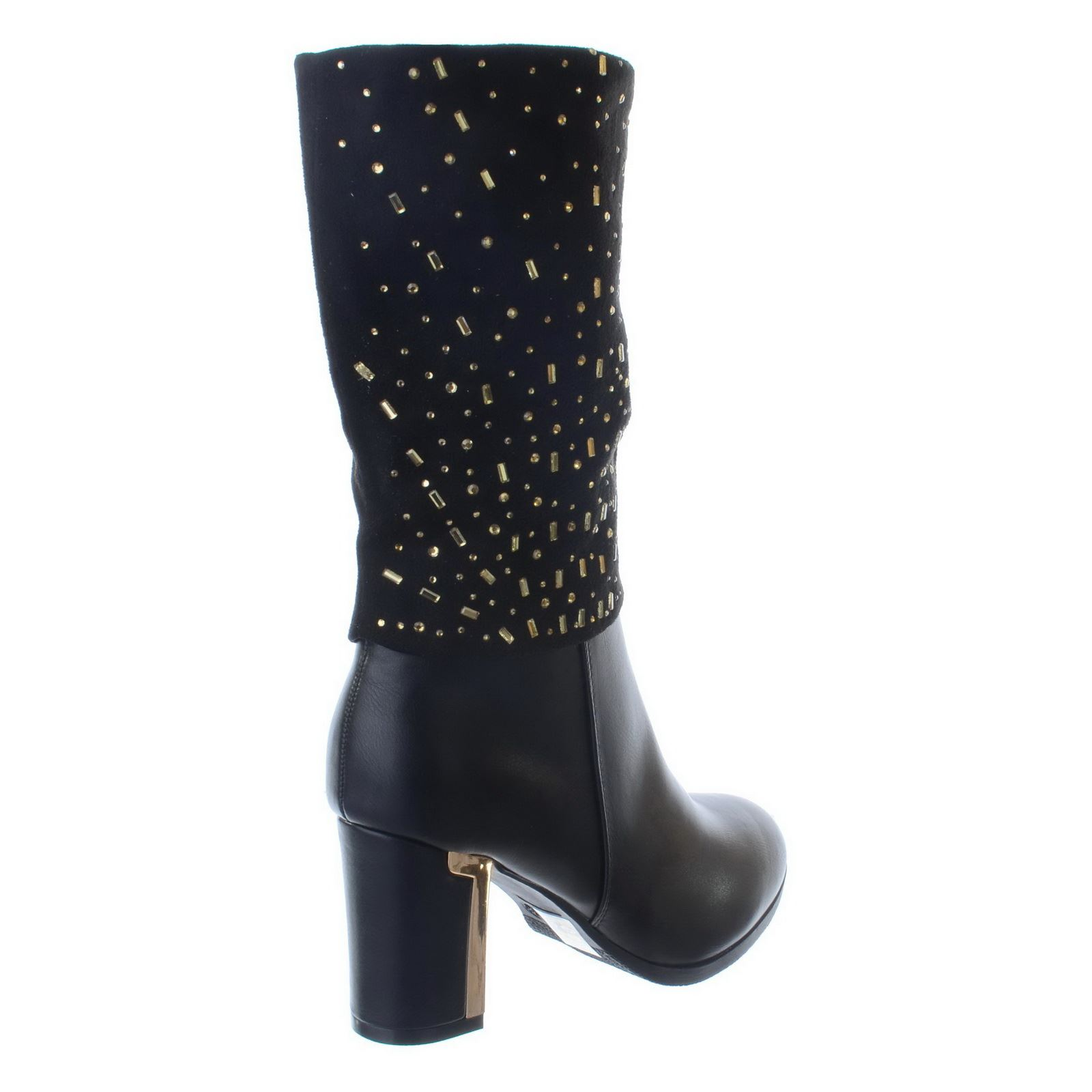 3e25753f8de NEW WOMENS LADIES MID HIGH BLOCK HEEL ZIP UP MID CALF DIAMANTE BOOTS ...