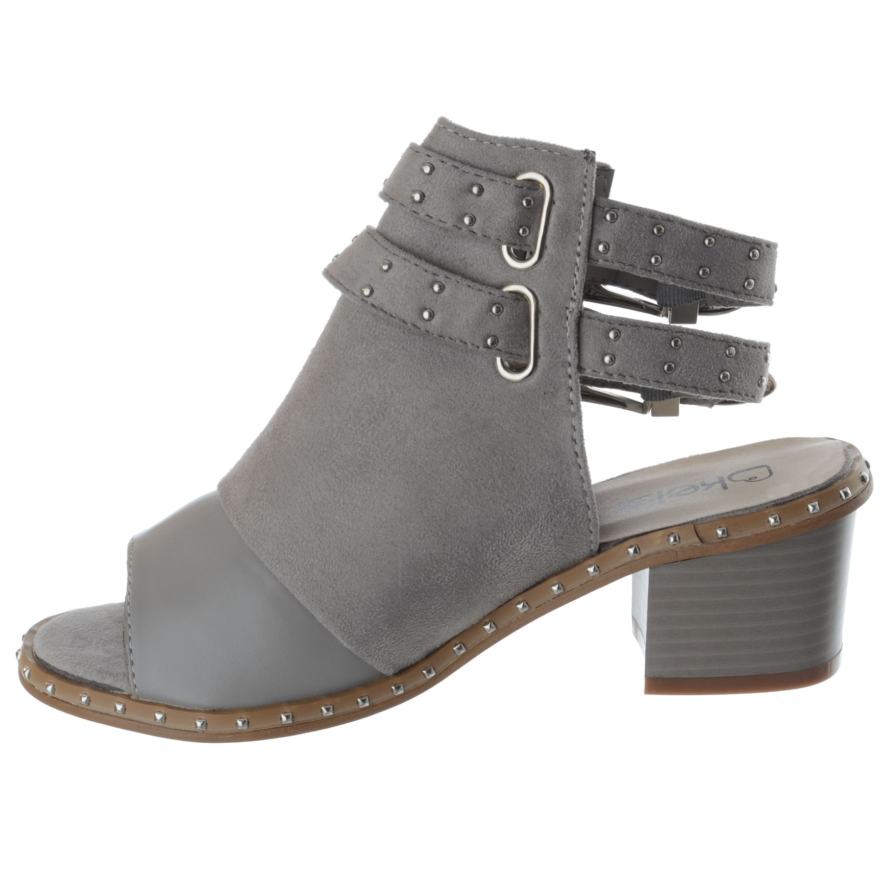 Womens-Ladies-Studded-Peep-Toe-Ankle-Strap-Chunky-Block-Heel-Sandals-Shoes-Size thumbnail 10