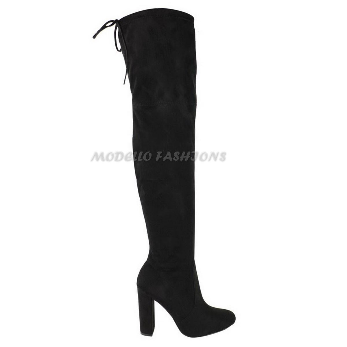 WOMENS-LADIES-THIGH-HIGH-BOOTS-OVER-THE-KNEE-PARTY-STRETCH-BLOCK-MID-HEEL-SIZE miniatuur 3
