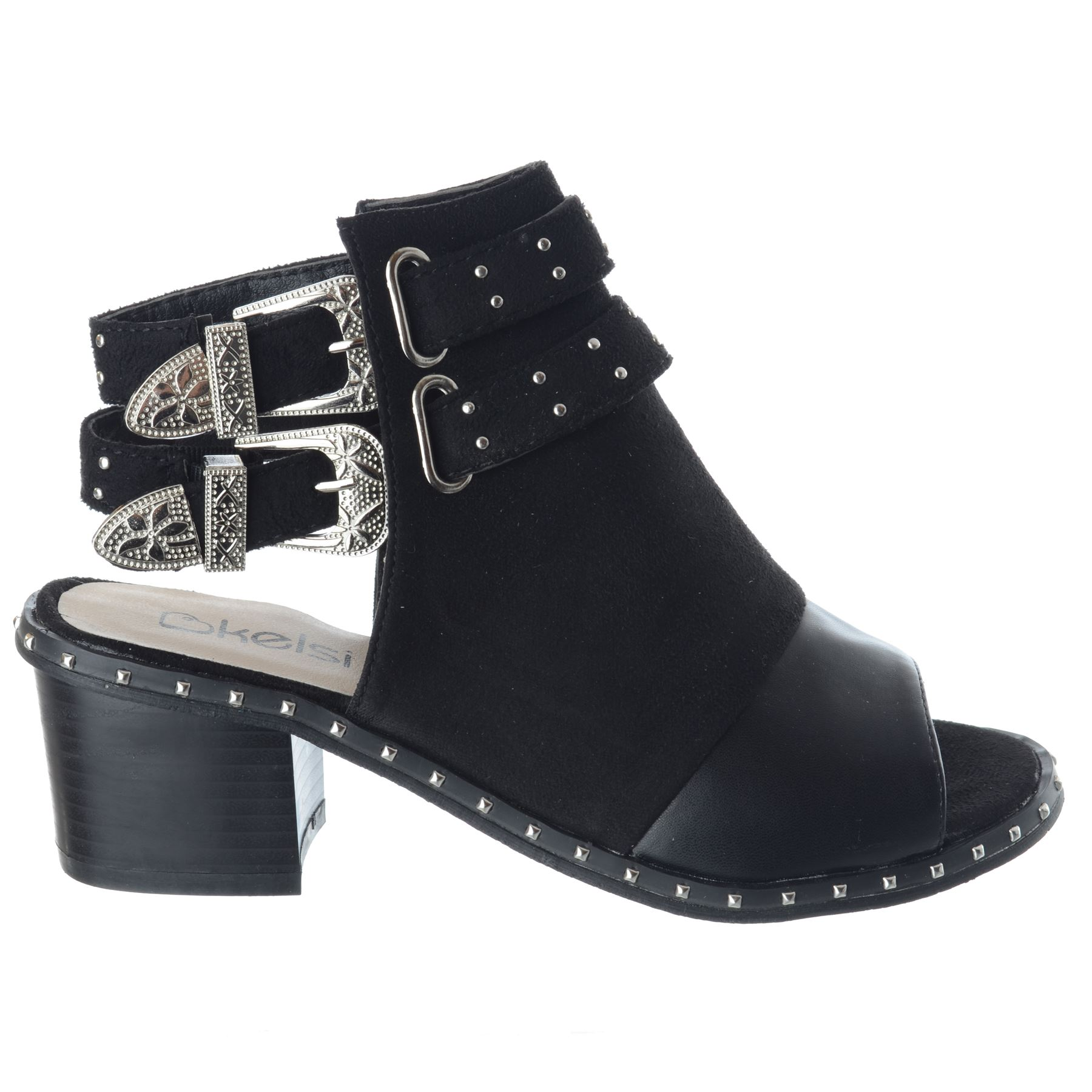 Womens-Ladies-Studded-Peep-Toe-Ankle-Strap-Chunky-Block-Heel-Sandals-Shoes-Size thumbnail 6