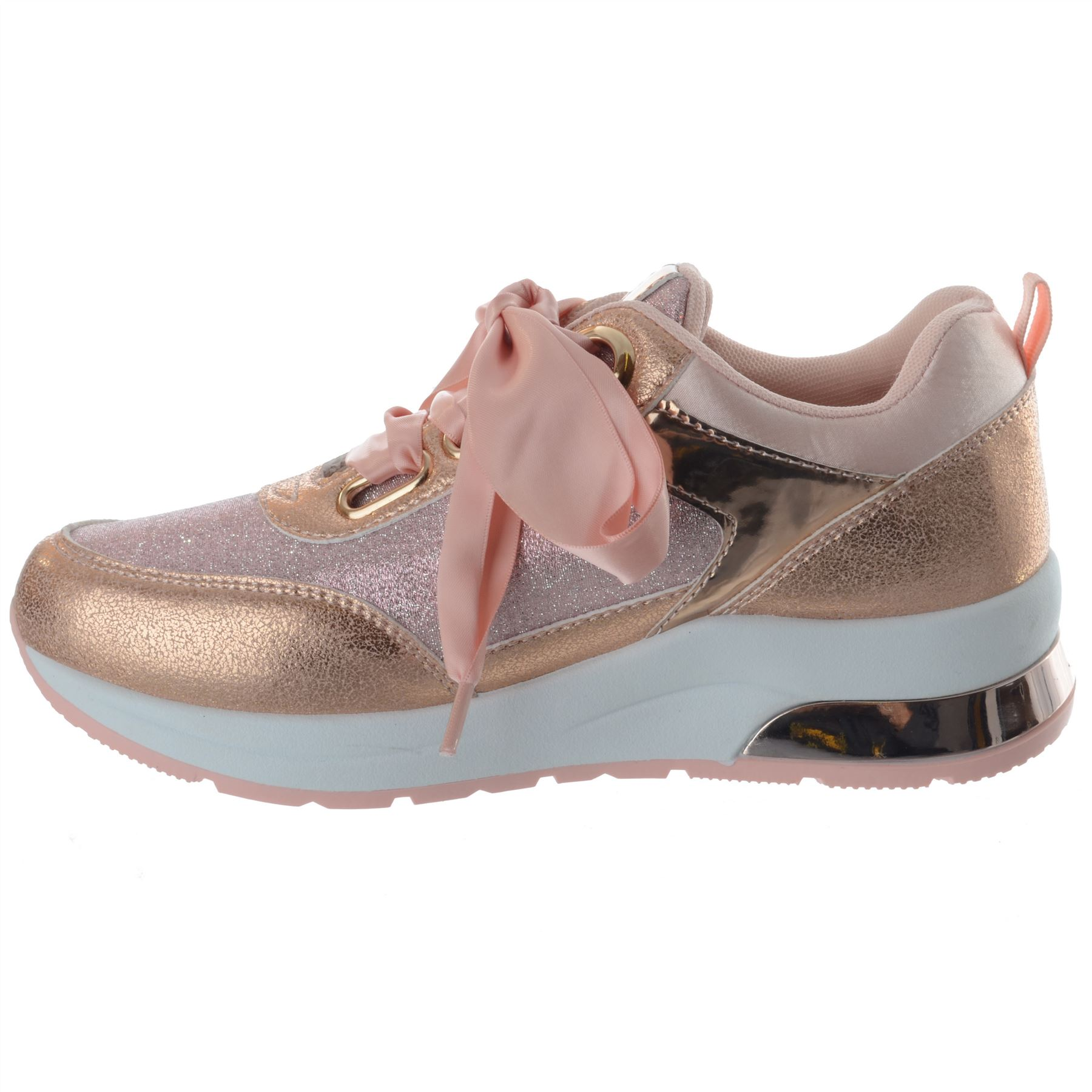 WOMENS LADIES GLITTER RIBBON LACE UP RUNNING FASHION SNEAKERS TRAINER SHOES SIZE