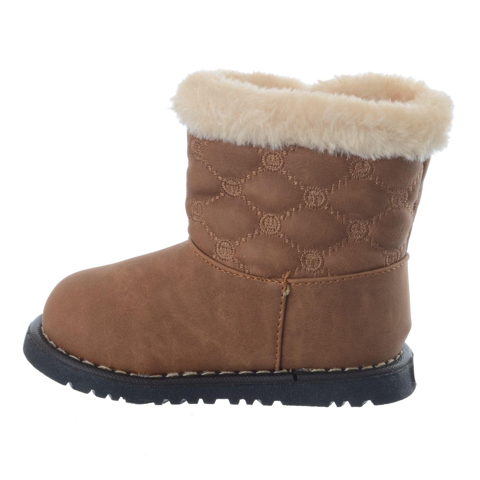 Chicas Infantil Niño Acolchado Botón Botas Zapatos Piel Forrada de Invierno Cálido Talla 3-8