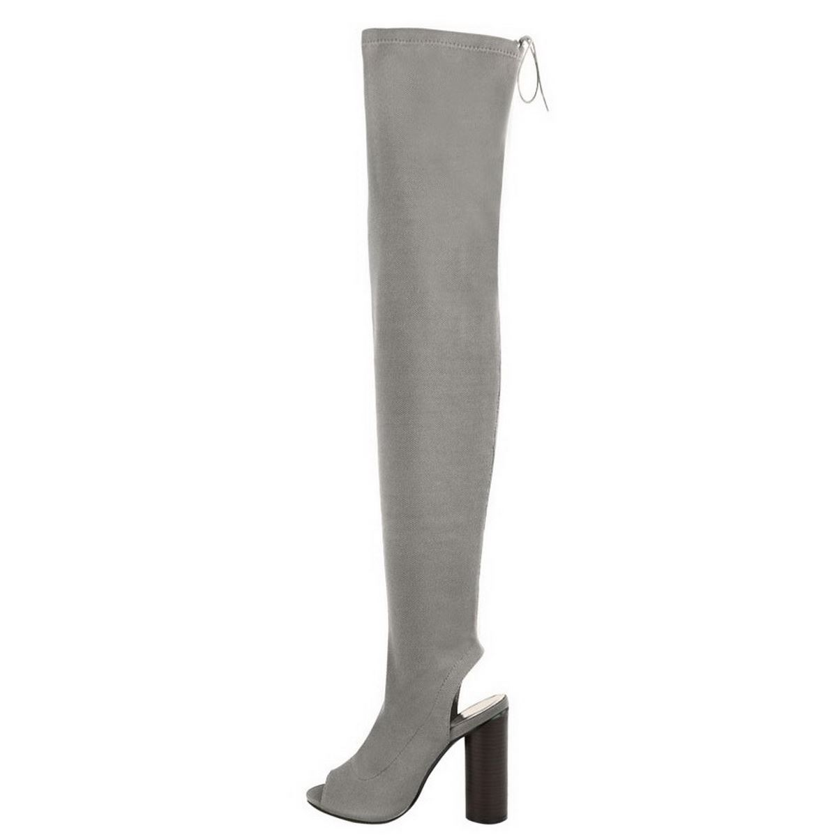 LADIES WOMENS THIGH HIGH OVER THE KNEE PEEP TOE STRETCH KNIT BOOTS BLOCK HEEL