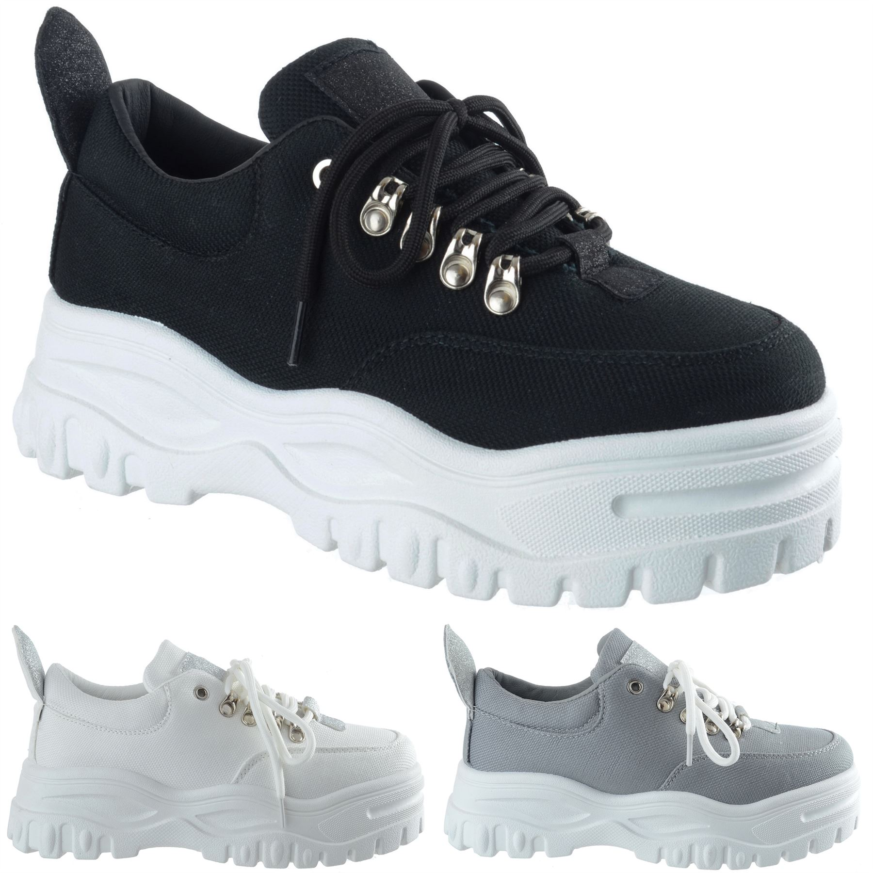 55d74f9b8aa Details about WOMENS LADIES PLATFORM TRAINERS LACE UP SNEAKERS PLIMSOLLS  COMFY FASHION SHOES