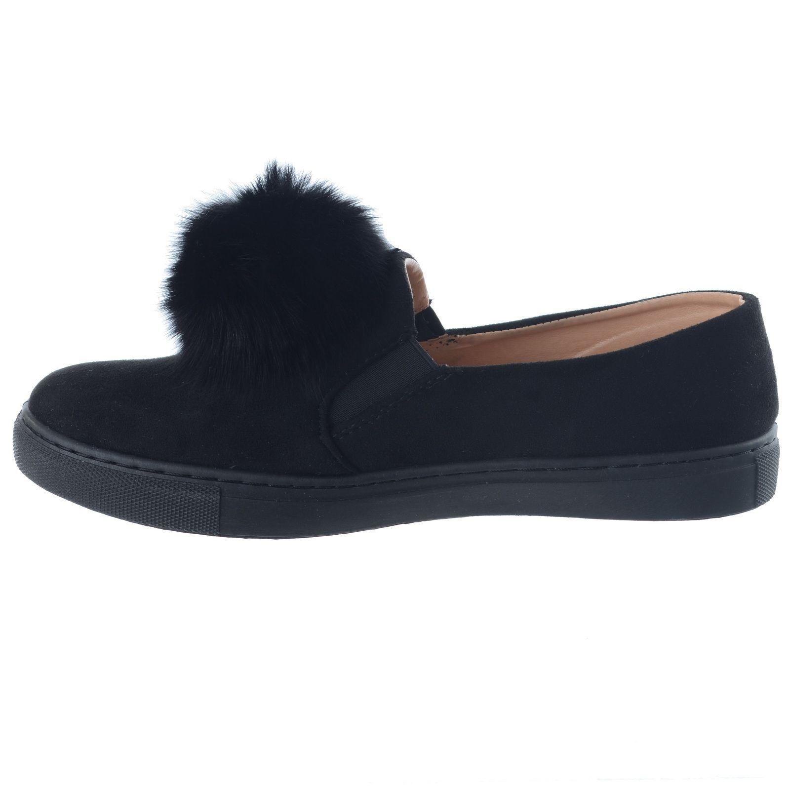Nuevo Para Mujer Damas estilo Pom Pom Gamuza formadores Bombas Zapatos de tacón bajo plano Talla