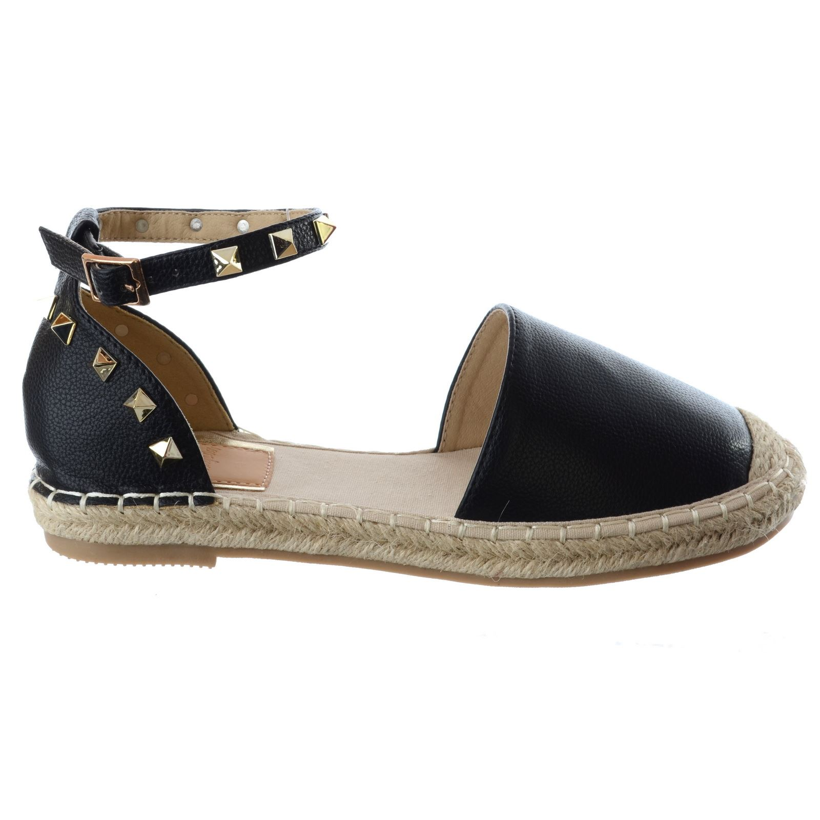 Flat heel sandals images - Womens Low Flat Heel Ankle Strap Studded Summer