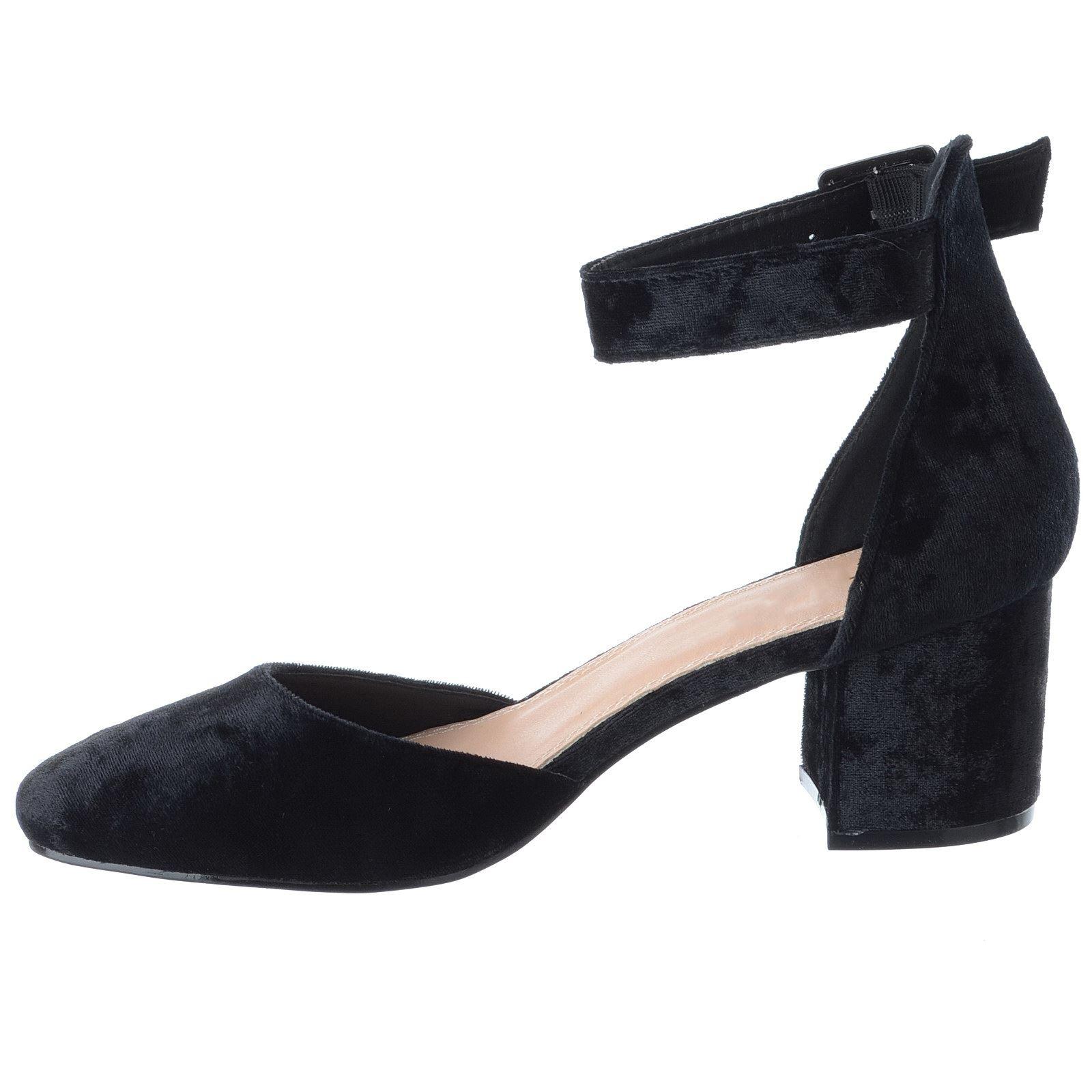Womens Ladies Mid Low Block Heel Ankle Strap Closed Toe