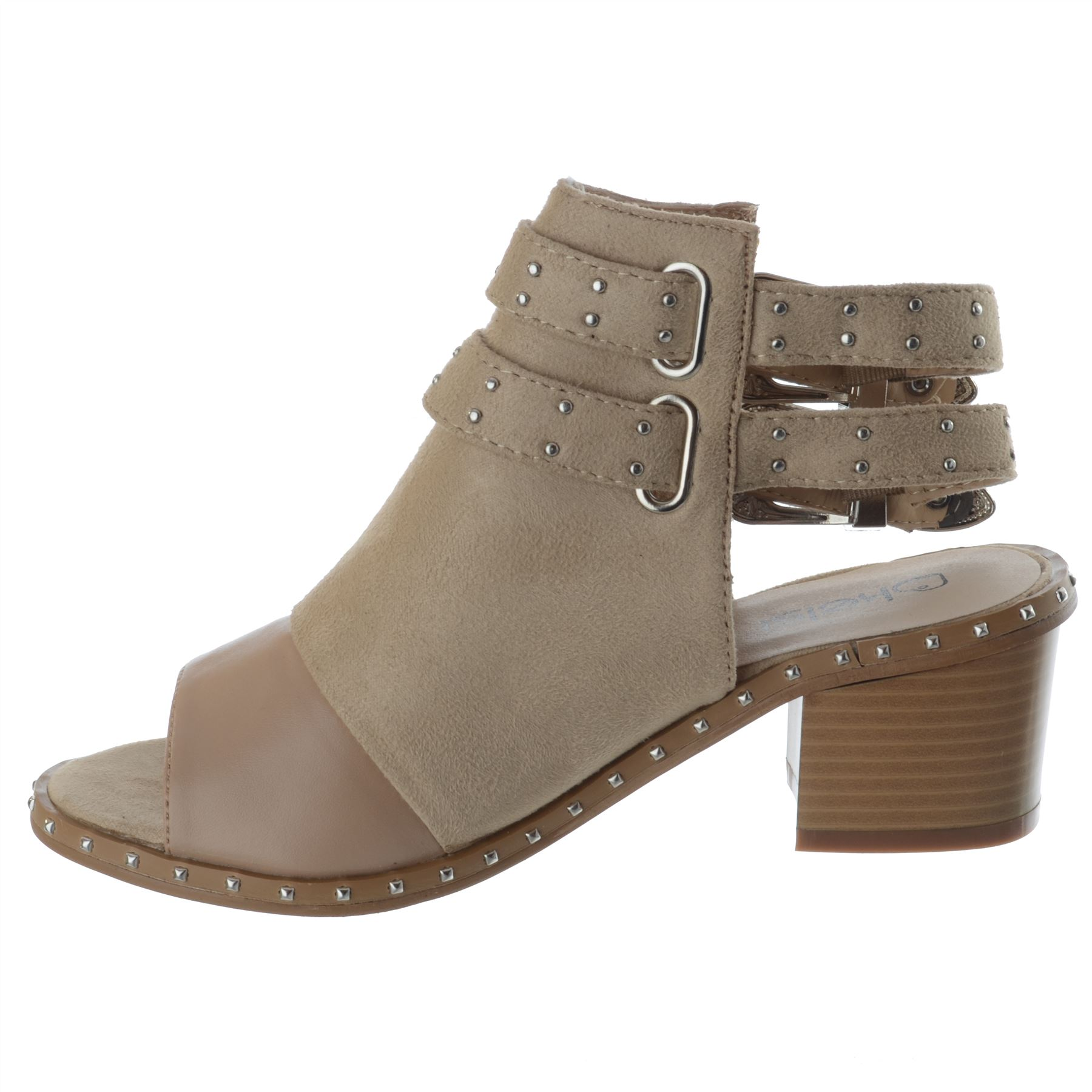Womens-Ladies-Studded-Peep-Toe-Ankle-Strap-Chunky-Block-Heel-Sandals-Shoes-Size thumbnail 4