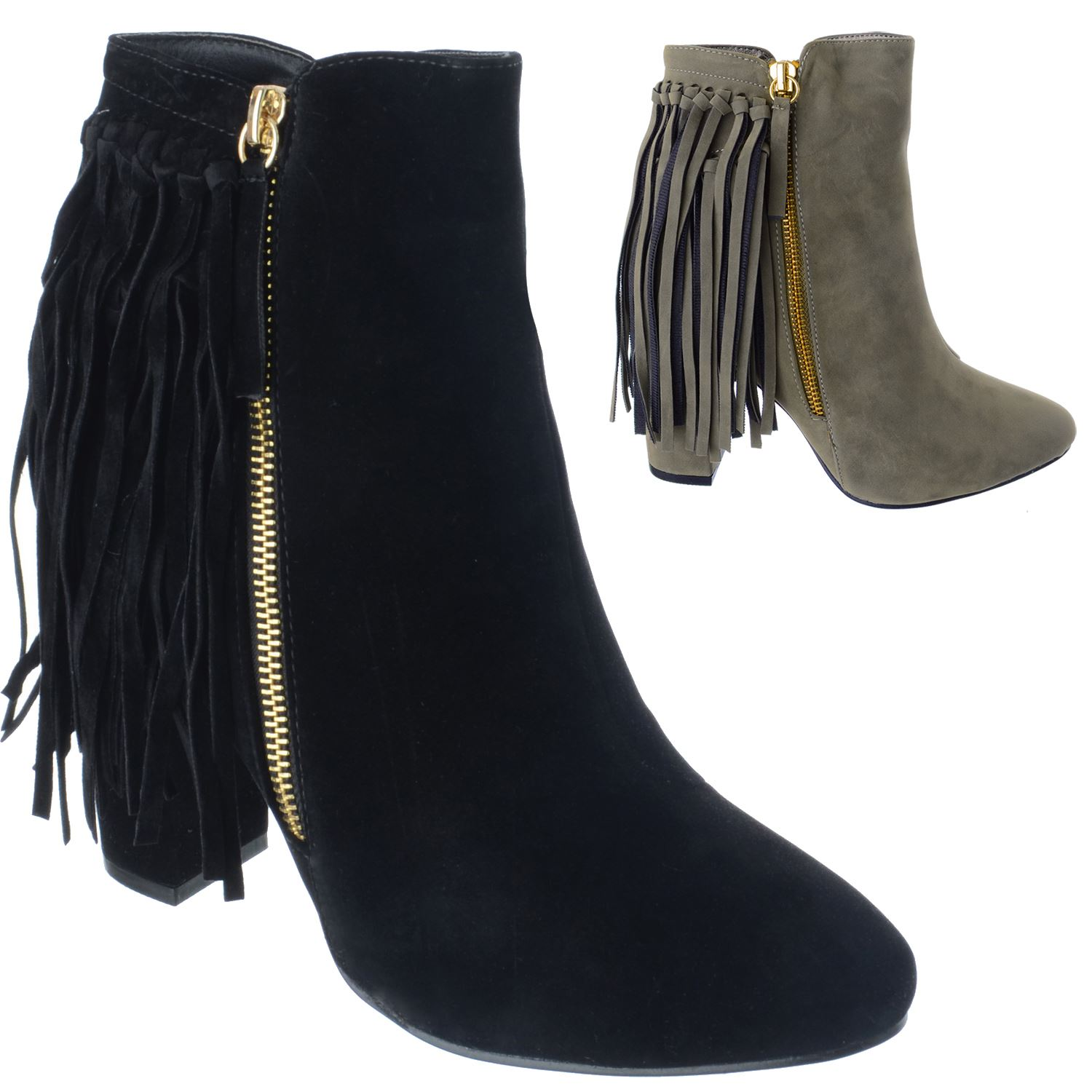 LADIES WOMENS ZIP UP TASSEL MID HIGH BLOCK HEEL CHELSEA ANKLE BOOTS SHOES SIZE