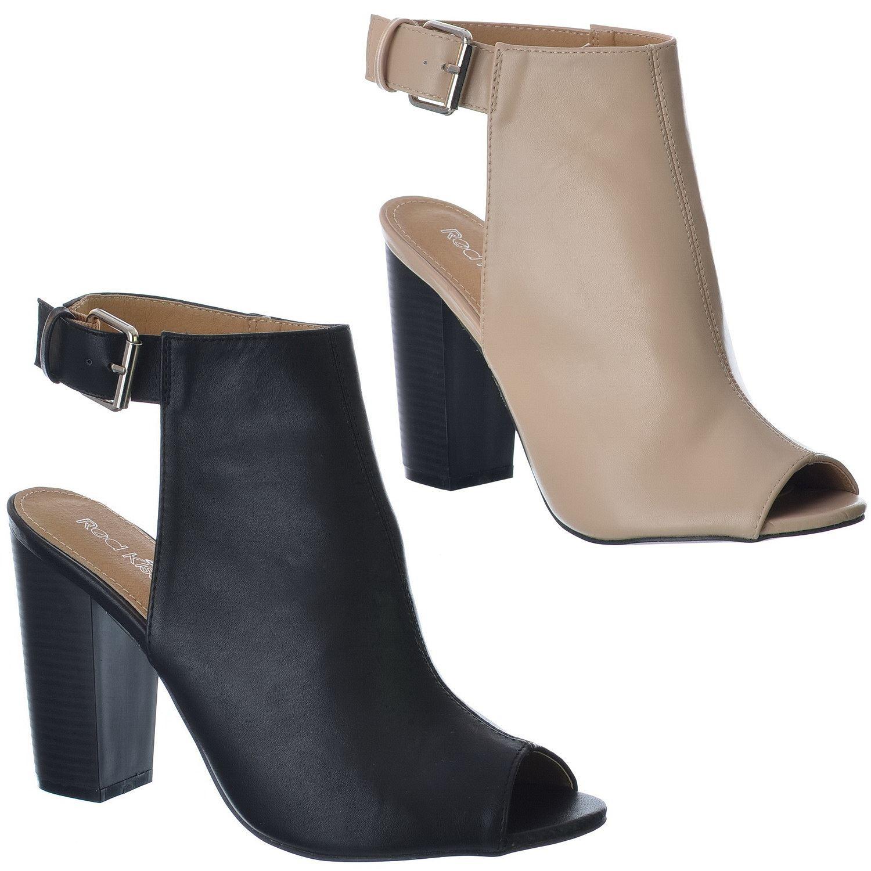 peep toe shoe boots block heel