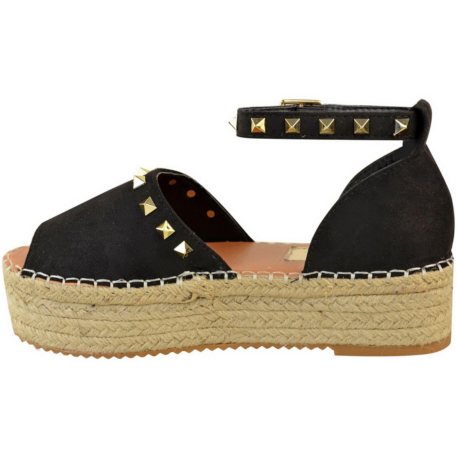 Womens Ladies Flatform Platform Studs Ankle Strap Espadrilles Sandals Shoes Size