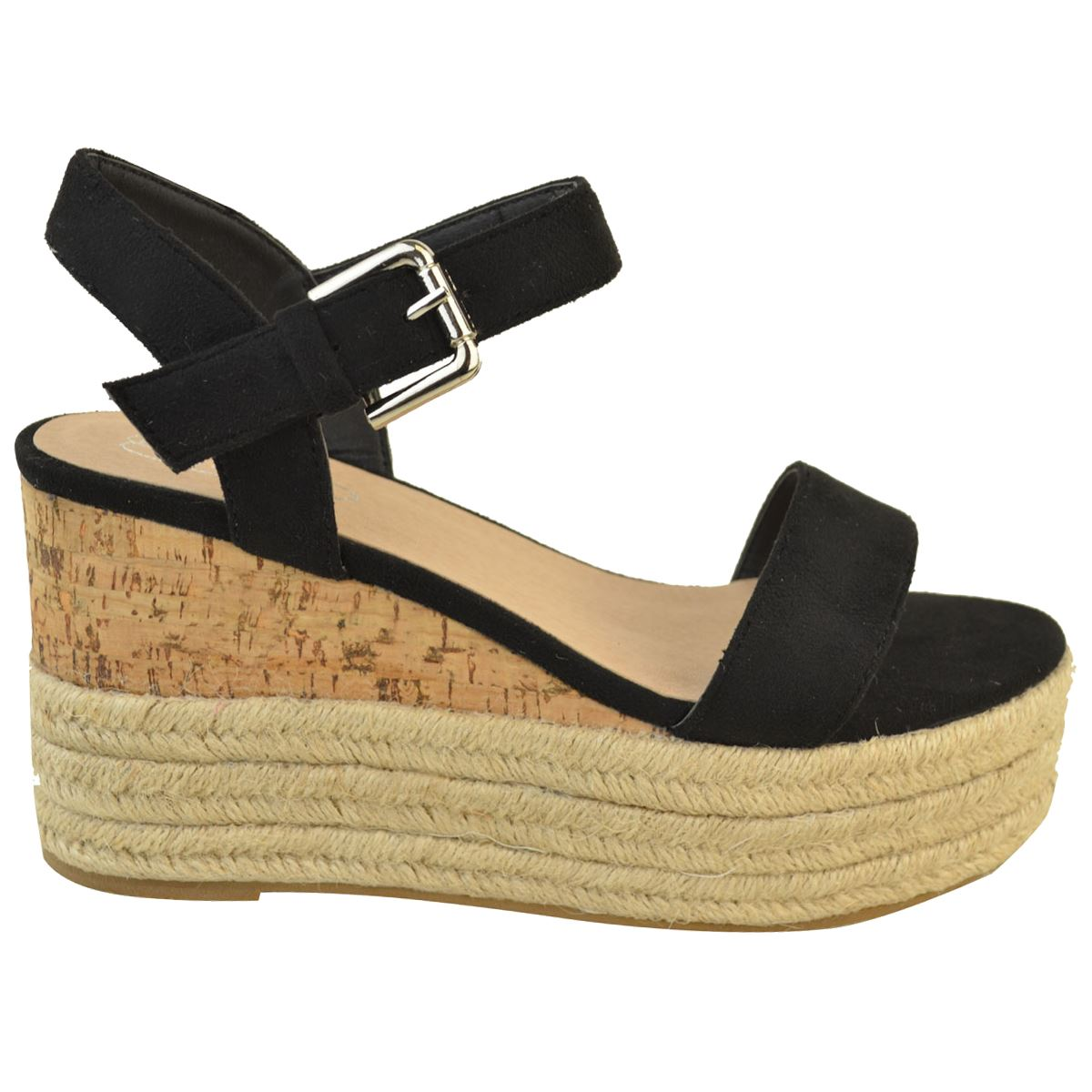 Womens-Ladies-Summer-Platform-Ankle-Strappy-Wedges-Open-Toe-Sandals-Shoes-Size thumbnail 3
