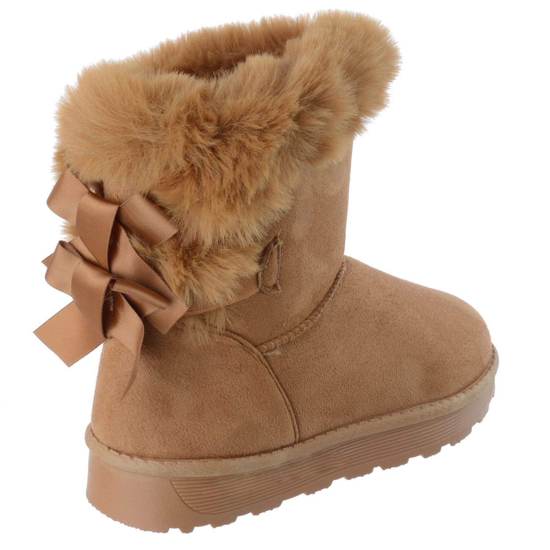 Niñas Niños Nueva Suela Agarre Invierno Cálido Snugg Arco Piel Forrada Botas al Tobillo Zapatos Talla