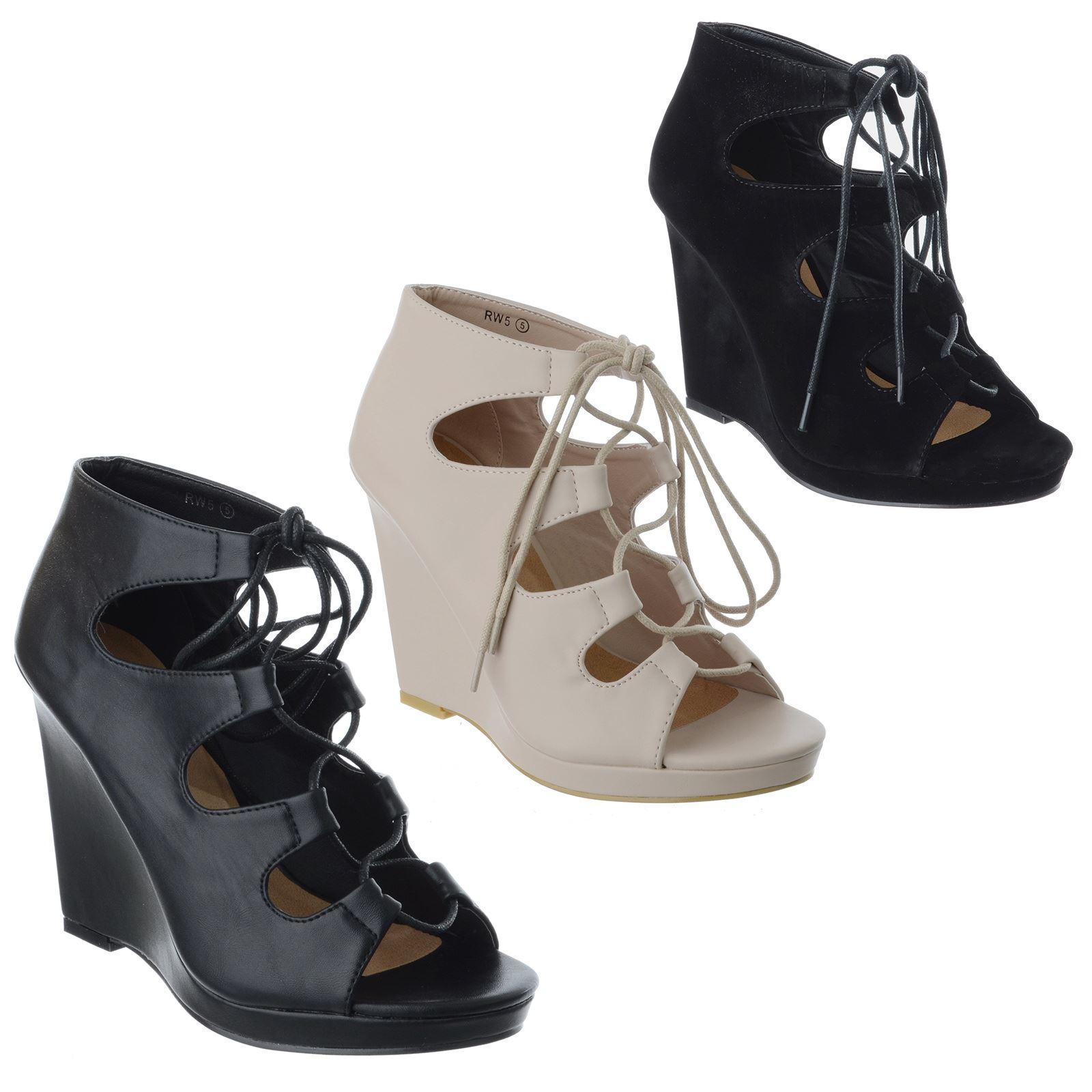 premium selection 81a20 19826 Details zu Damen Schnürschuhe Hoch Peeptoe Keilabsatz Gladiator Sandalen  Schuhe Größe