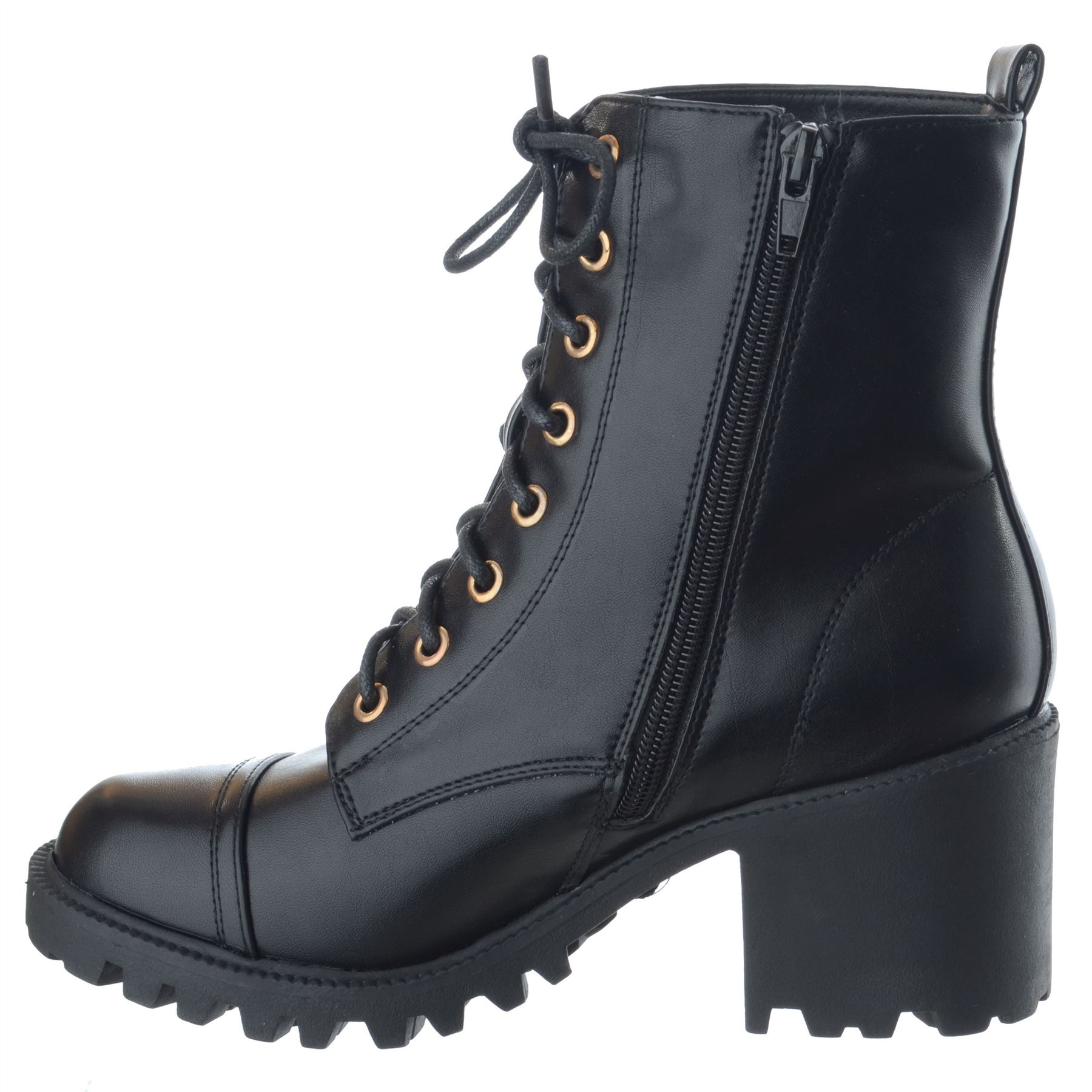 Noir Chunky Mid Cuir Lace Bottines Taille Combat Up Block Chaussures En Womens Militaire Talon Zip q7aw1xBBY