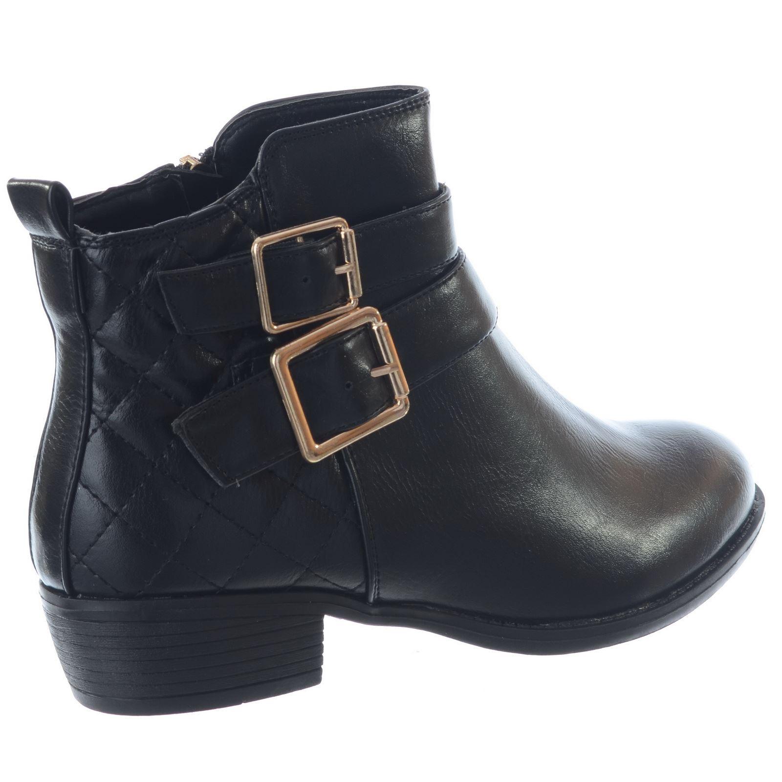Nuevo Mujer Damas Tacón Bajo Mediados Bloque Chelsea Plano Cremallera Botas al Tobillo Zapatos Talla
