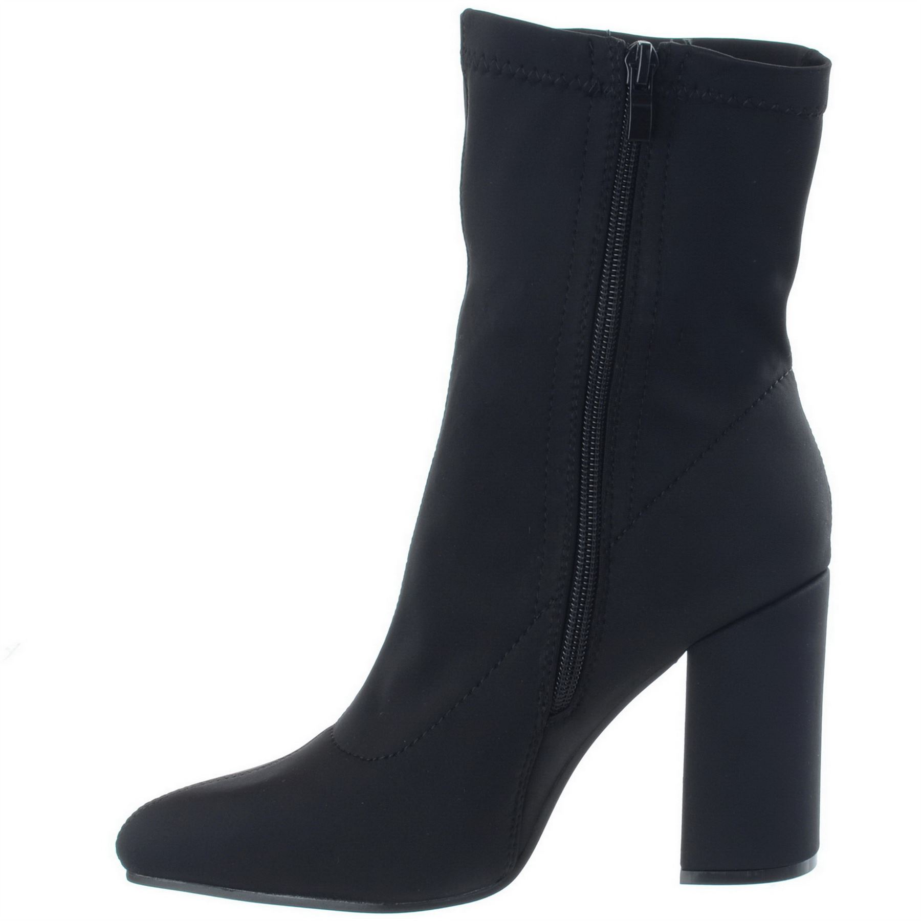 Womens-Ladies-Lycra-Stretch-Block-Heel-Pointy-Toe-Zip-Up-Ankle-Boots-Shoes-Size