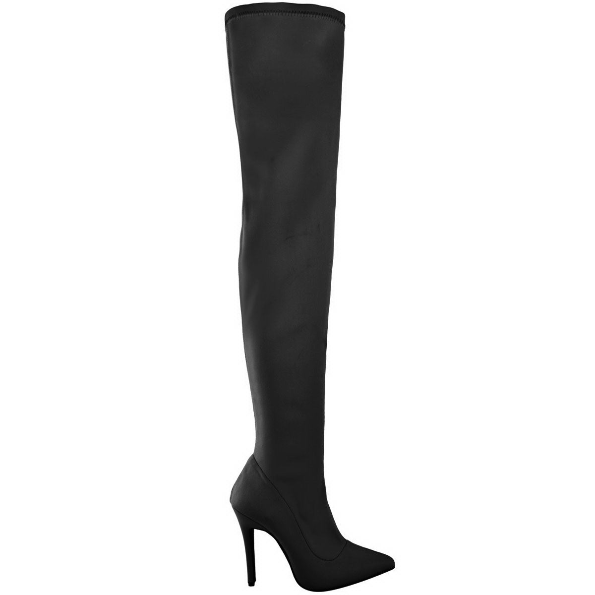 Thigh Size Stiletto High Lycra Boots Black Stretchy Toe The Over Knee Pointy Heels Womens Ladies qZw1CC