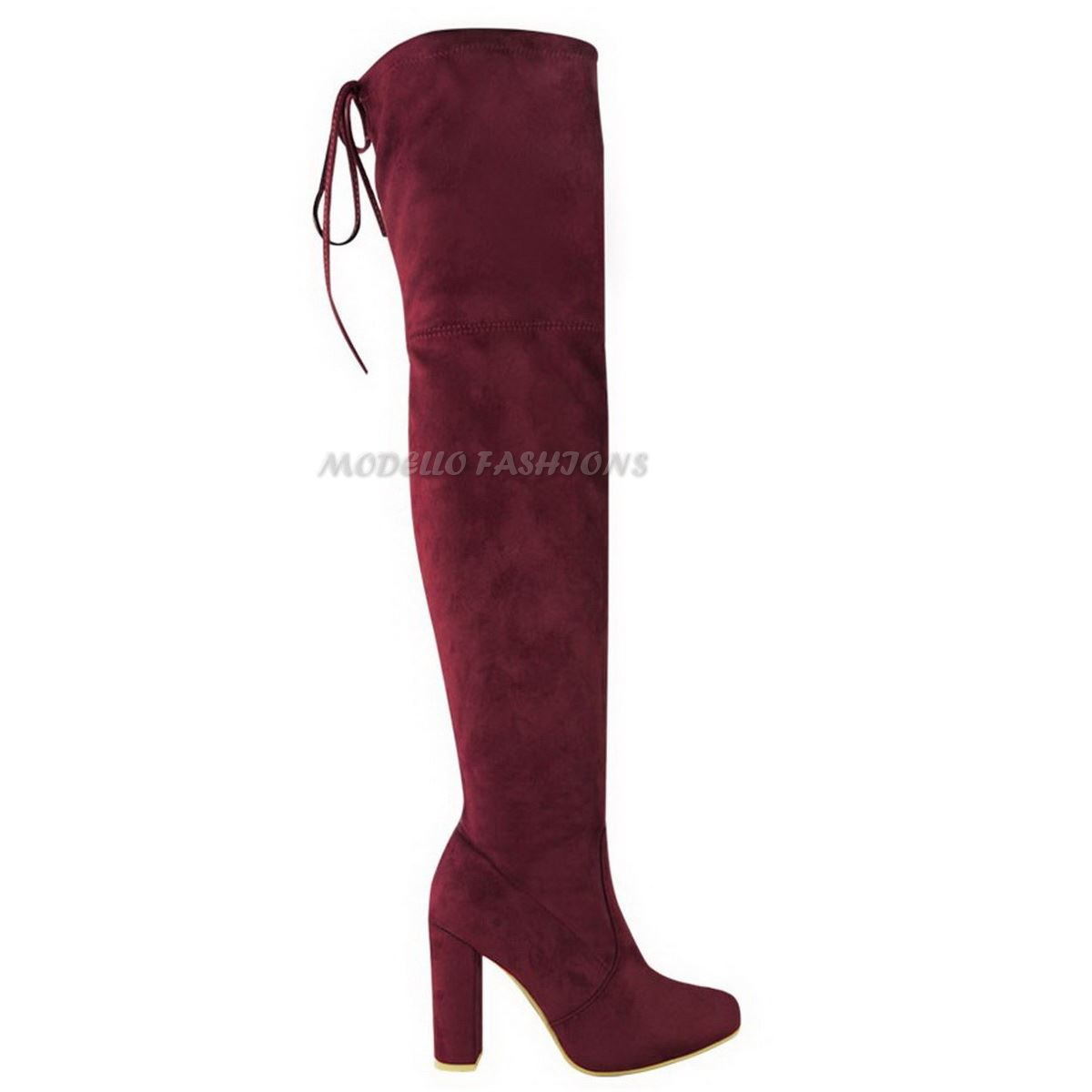 WOMENS-LADIES-THIGH-HIGH-BOOTS-OVER-THE-KNEE-PARTY-STRETCH-BLOCK-MID-HEEL-SIZE miniatuur 6