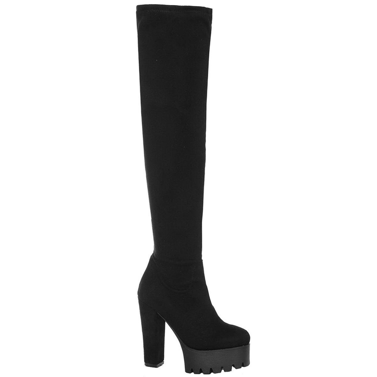 Señoras para mujer sobre la rodilla Taco Alto Plataforma Cleated Suela Botas Zapatos Talla Mediana