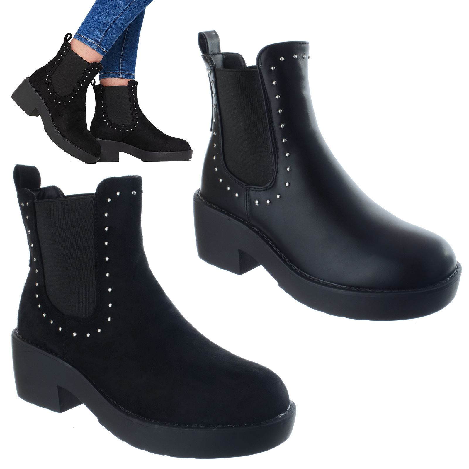 Femme Femmes Talon Bottier Bas et Inspiration Designer Chelsea Cheville Bottes Chaussures Taille