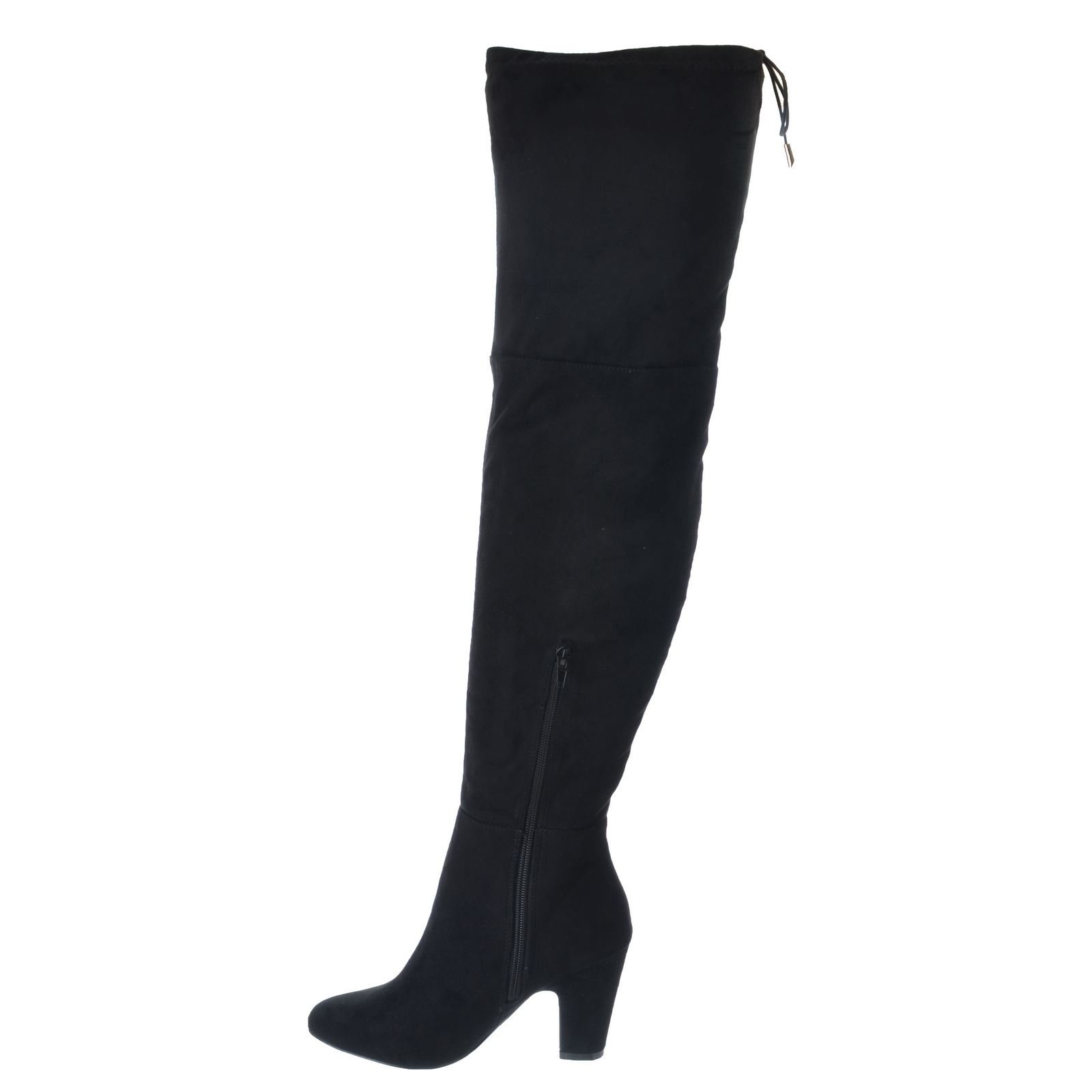 64c5f396ec8 WOMENS LADIES THIGH HIGH BOOTS OVER THE KNEE PARTY STRETCH BLOCK MID ...