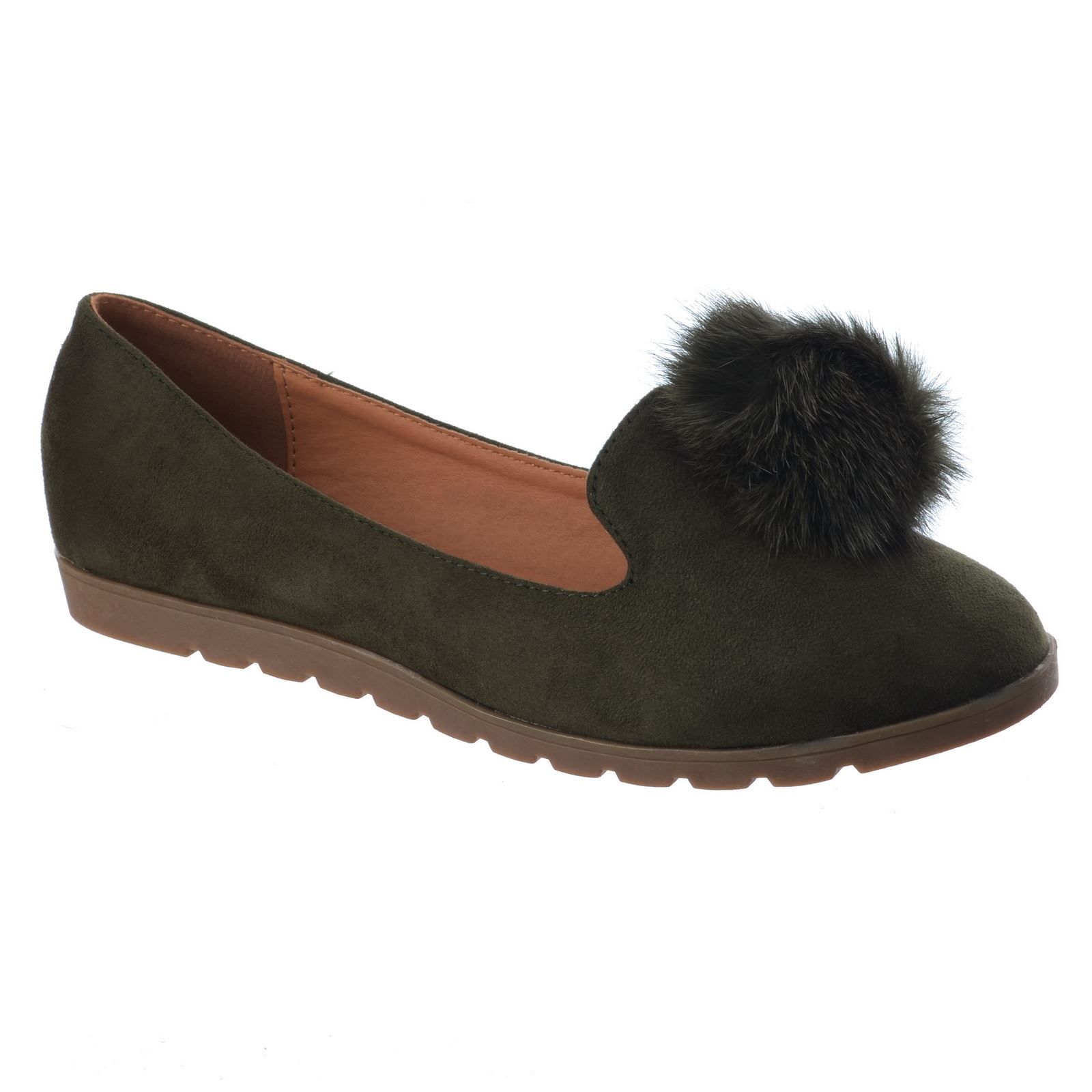 Fur Pom Girls Flat Shoe