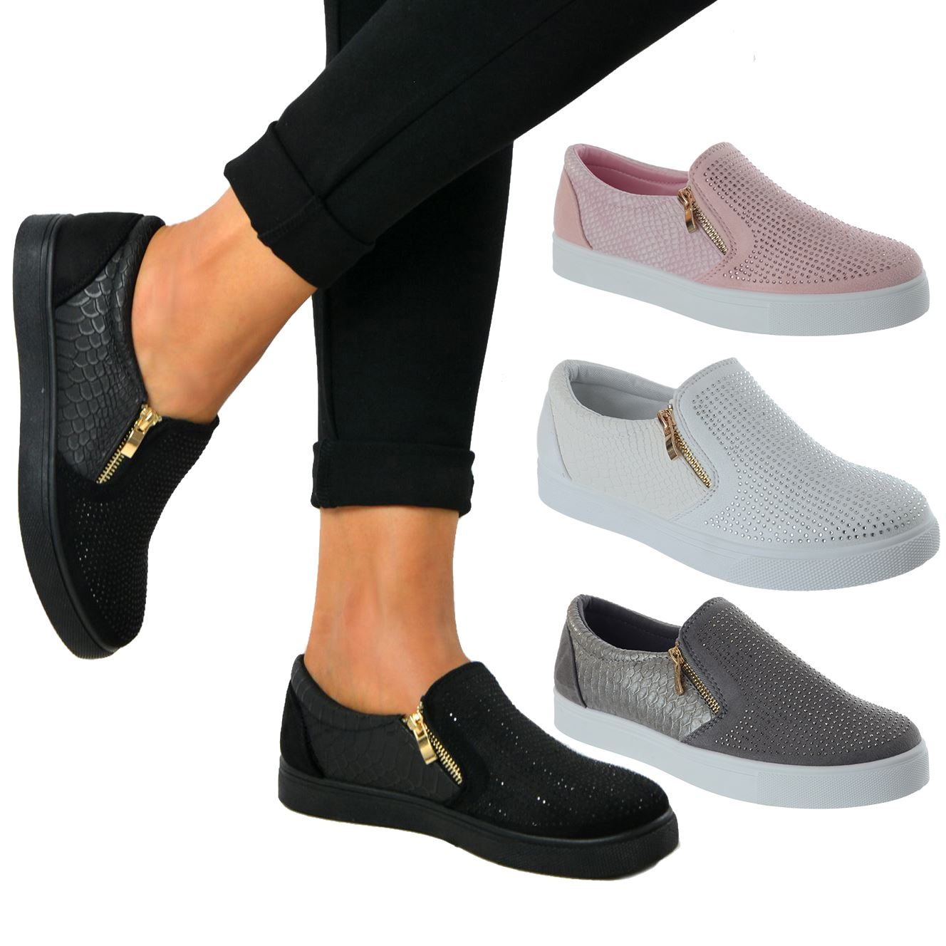 New Ladies Low Ankle Diamante Pumps Women Glitter Shoes Plimsols Trainers Boots