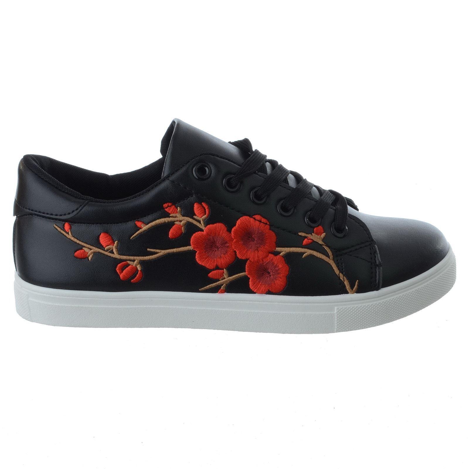 Mujeres Floral Bordado plano con Cordones Entrenadores Bombas Zapatos Deportivos Tamaño De Damas