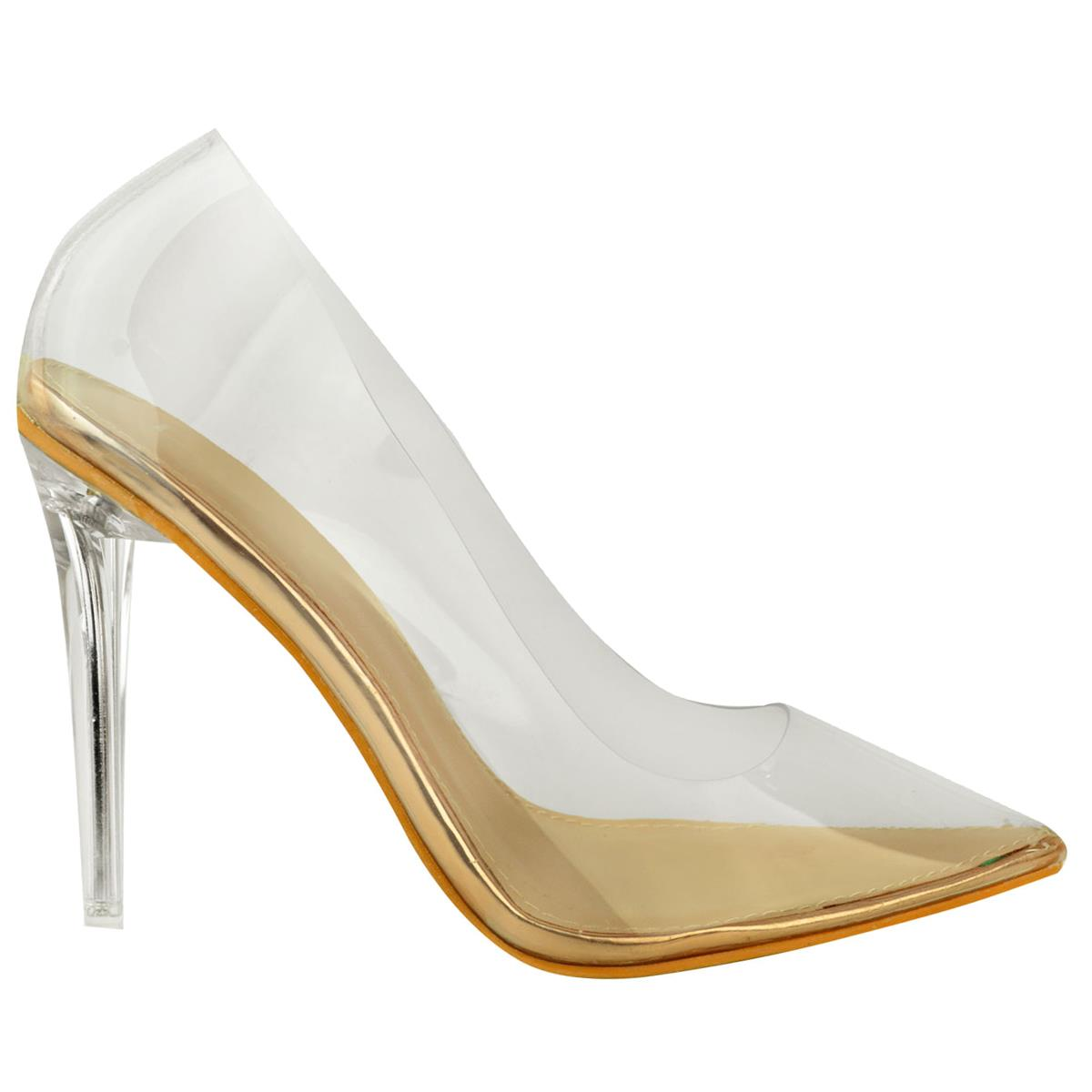 Womens Ladies Perspex Clear Ankle Strappy Court Shoes Stiletto High Heels Pumps
