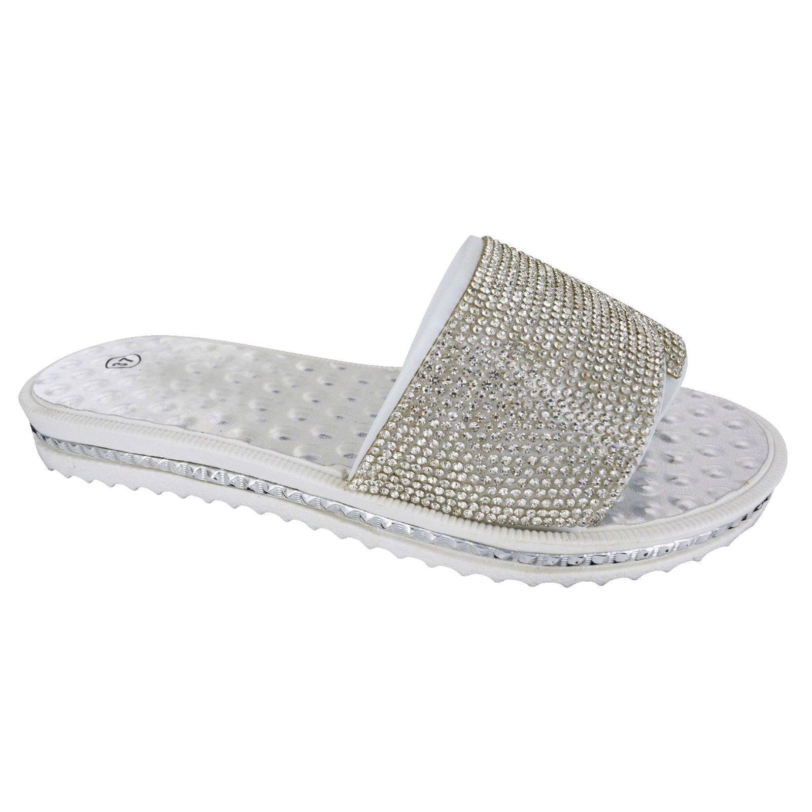Mujer De Las Señoras Ocasionales Diamante deslizadores Jalea Sandalias Ojotas de pisos tamaño de zapato