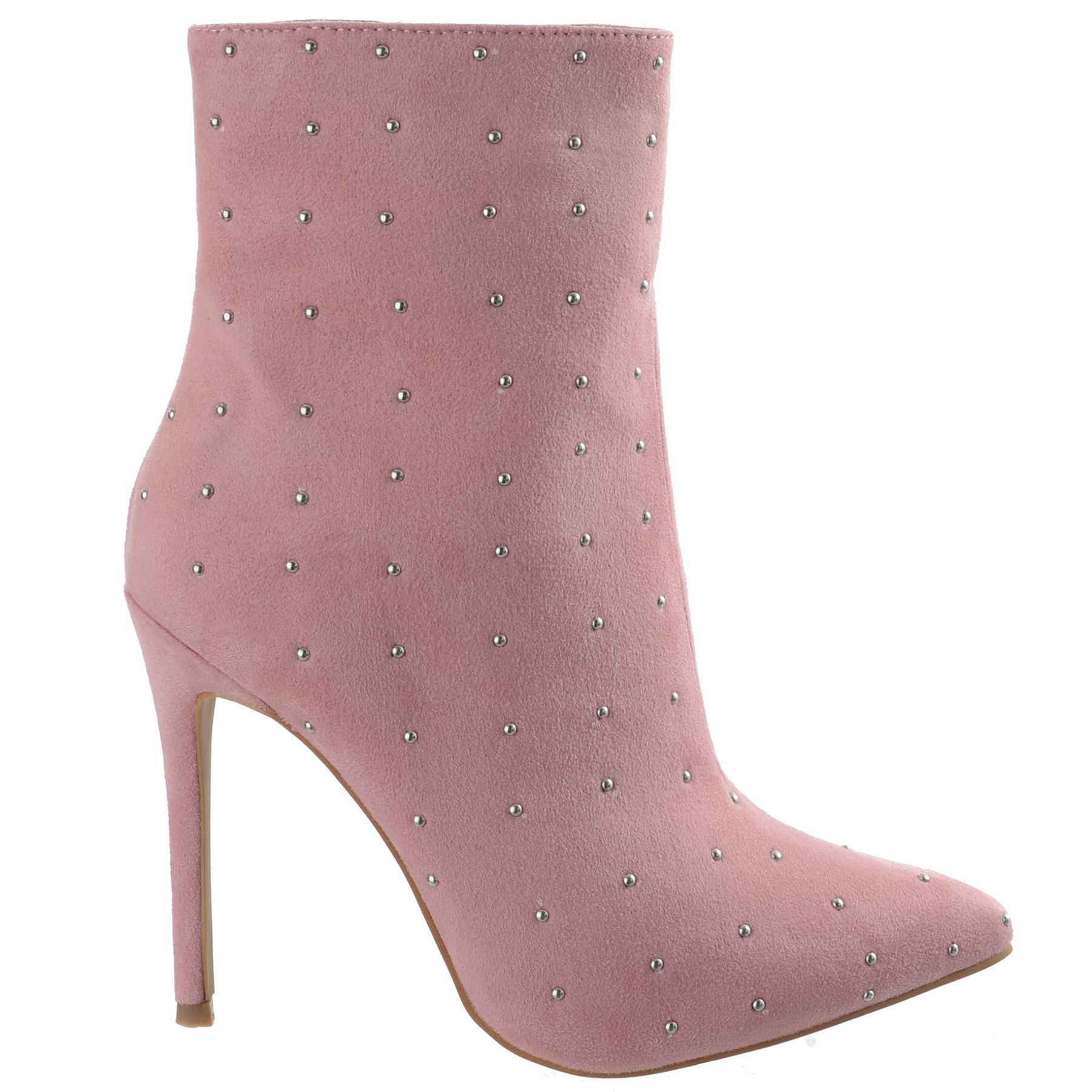 Ladies-Womens-High-Stiletto-Heel-Pointy-Toe-Zip-Up-Ankle-Boots-Shoes-Size-3-8 miniatuur 9
