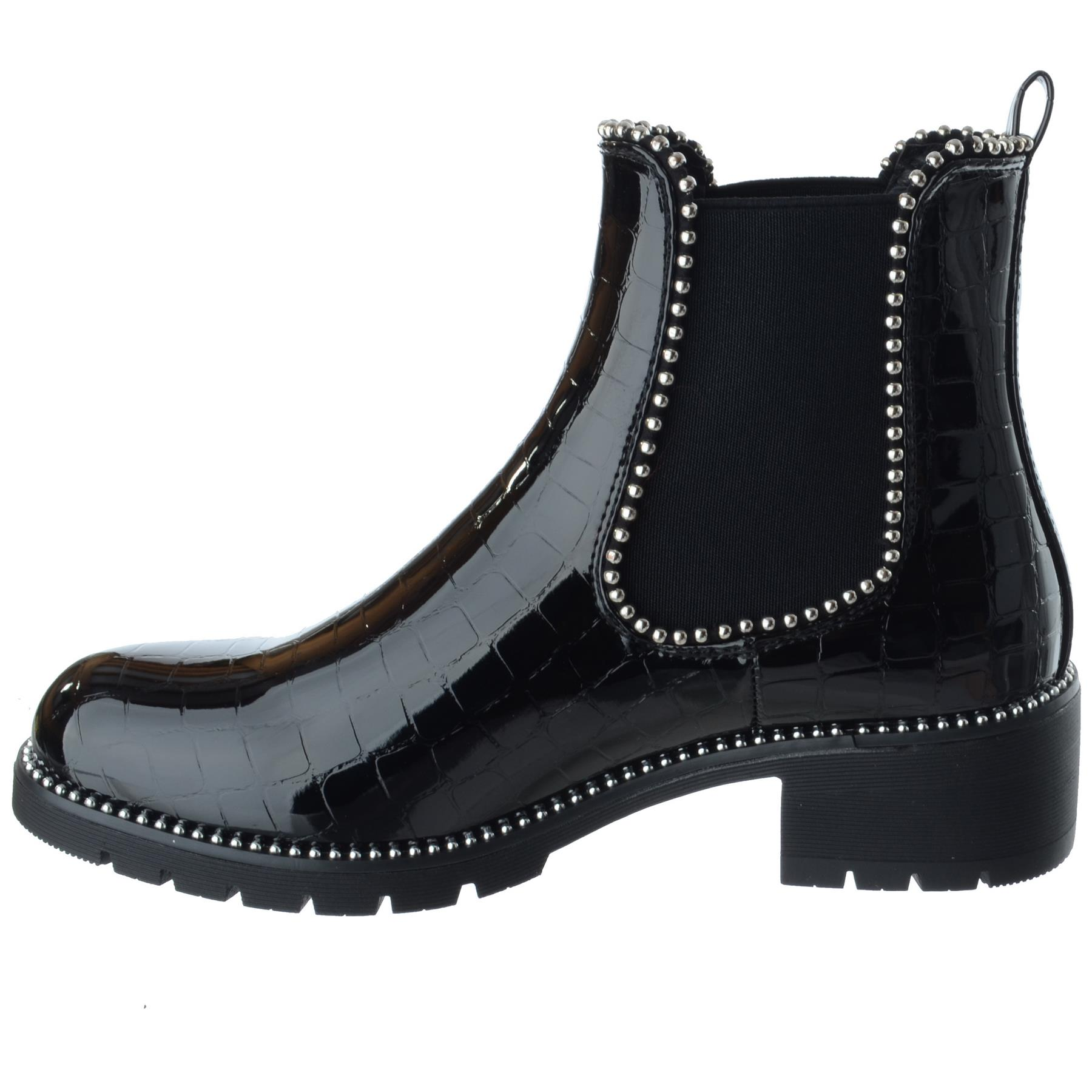 Womens Ladies Chunky Flat Low Heel Biker Studded Chelsea Ankle Boot Shoes Size