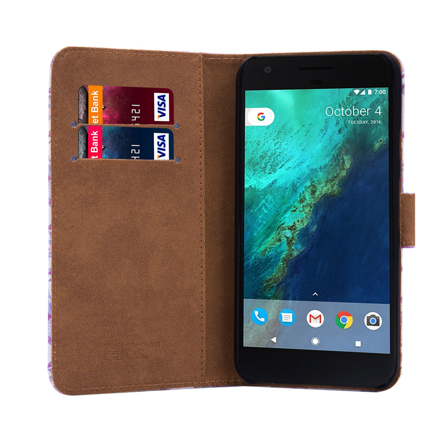 PU-Leather-Floral-Design-Book-Wallet-Case-Cover-For-Google-Pixel thumbnail 17