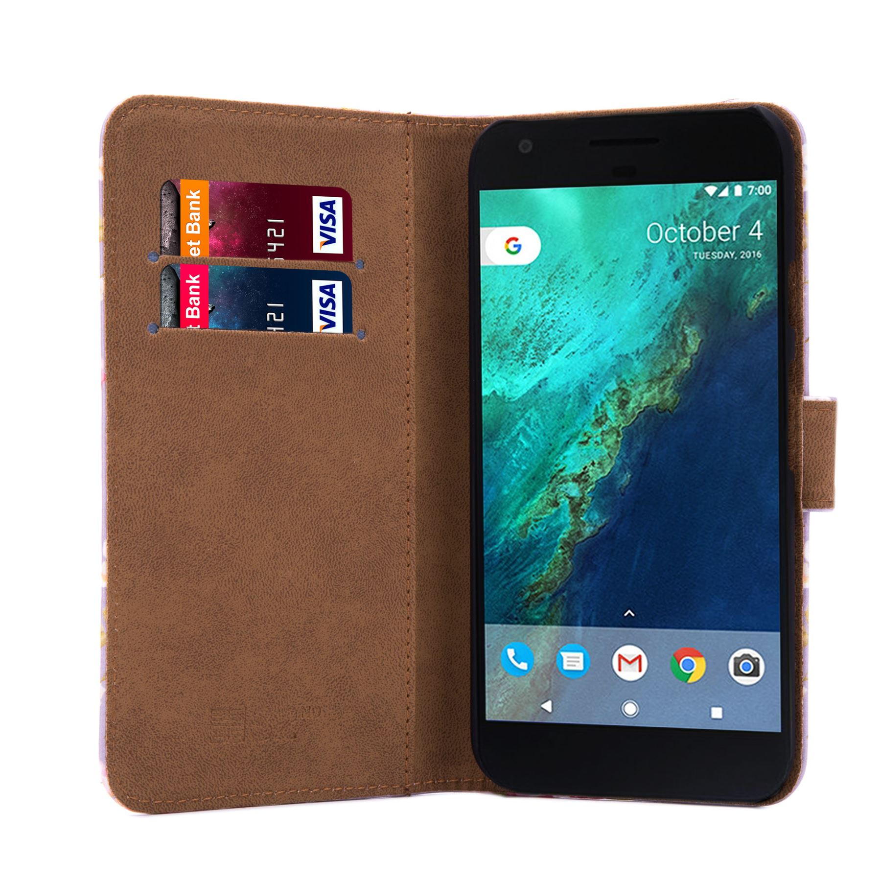 PU-Leather-Floral-Design-Book-Wallet-Case-Cover-For-Google-Pixel thumbnail 41