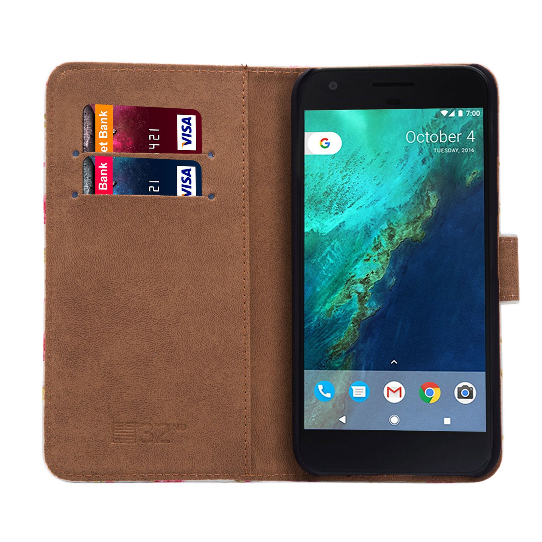 PU-Leather-Floral-Design-Book-Wallet-Case-Cover-For-Google-Pixel thumbnail 53