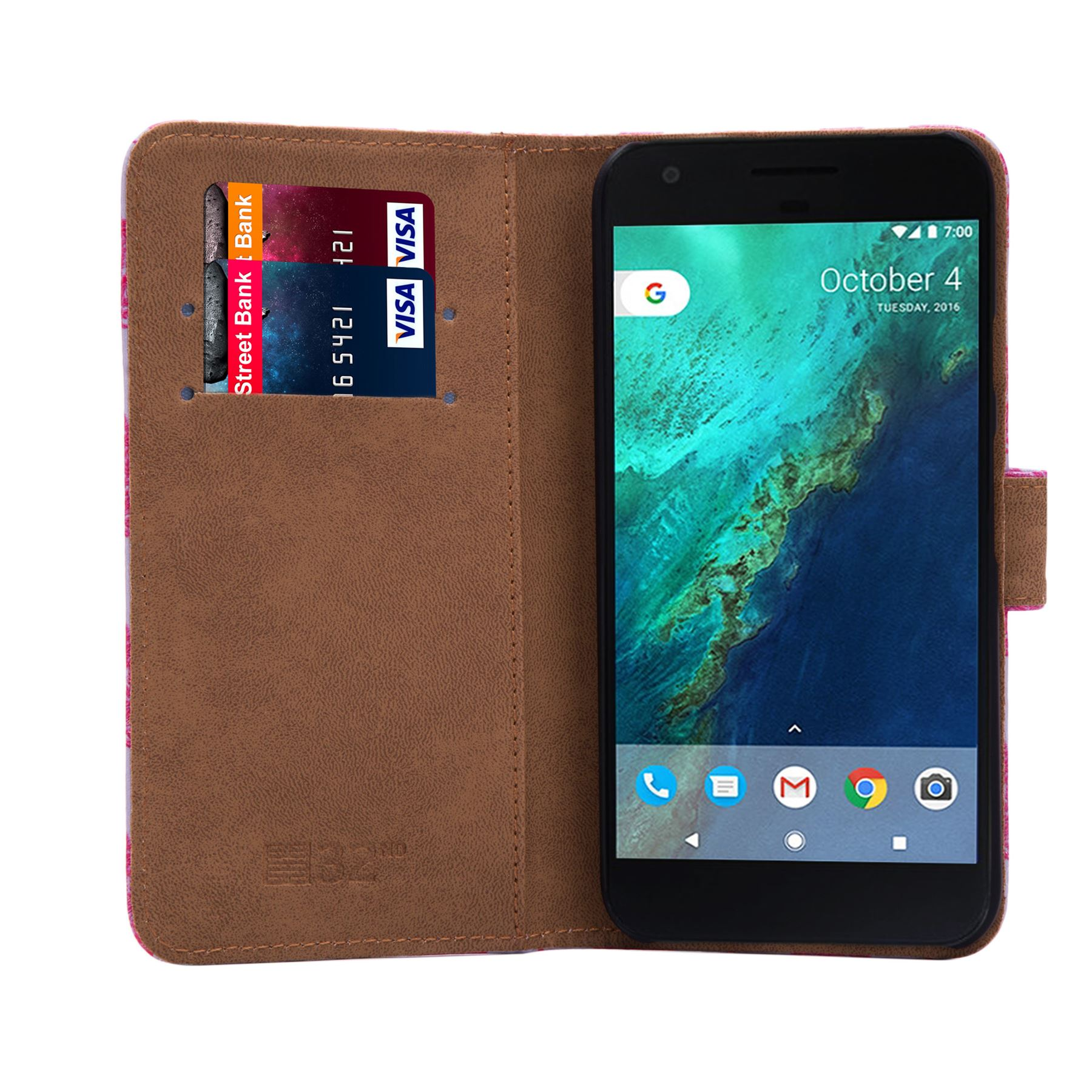 PU-Leather-Floral-Design-Book-Wallet-Case-Cover-For-Google-Pixel thumbnail 23