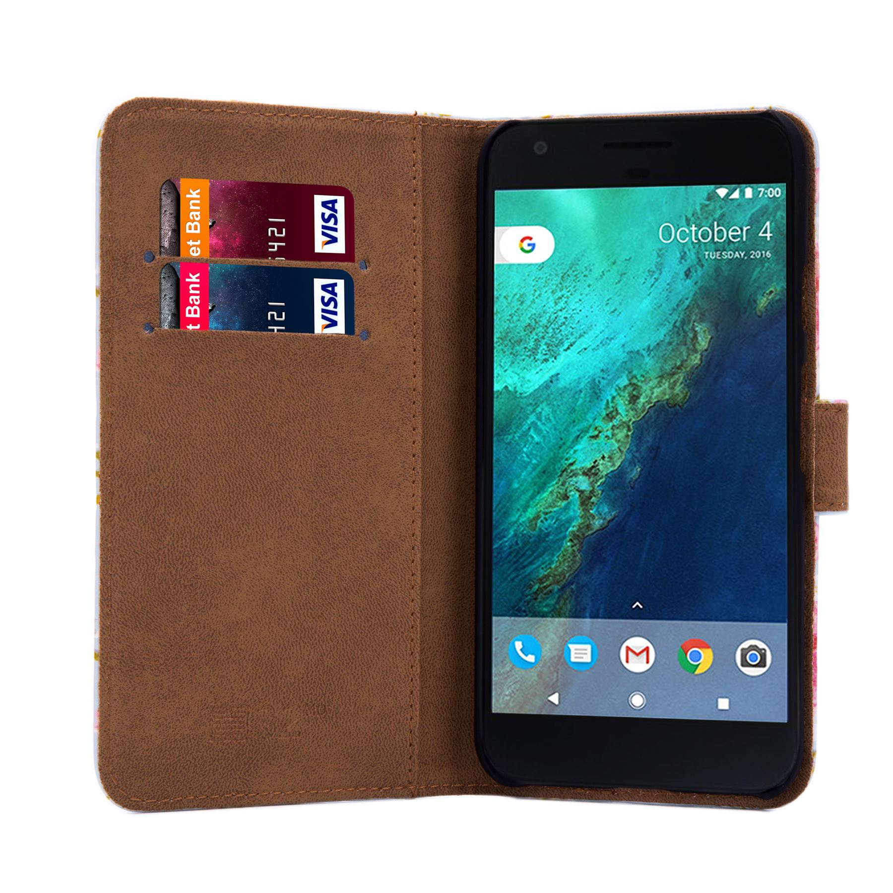 PU-Leather-Floral-Design-Book-Wallet-Case-Cover-For-Google-Pixel thumbnail 35