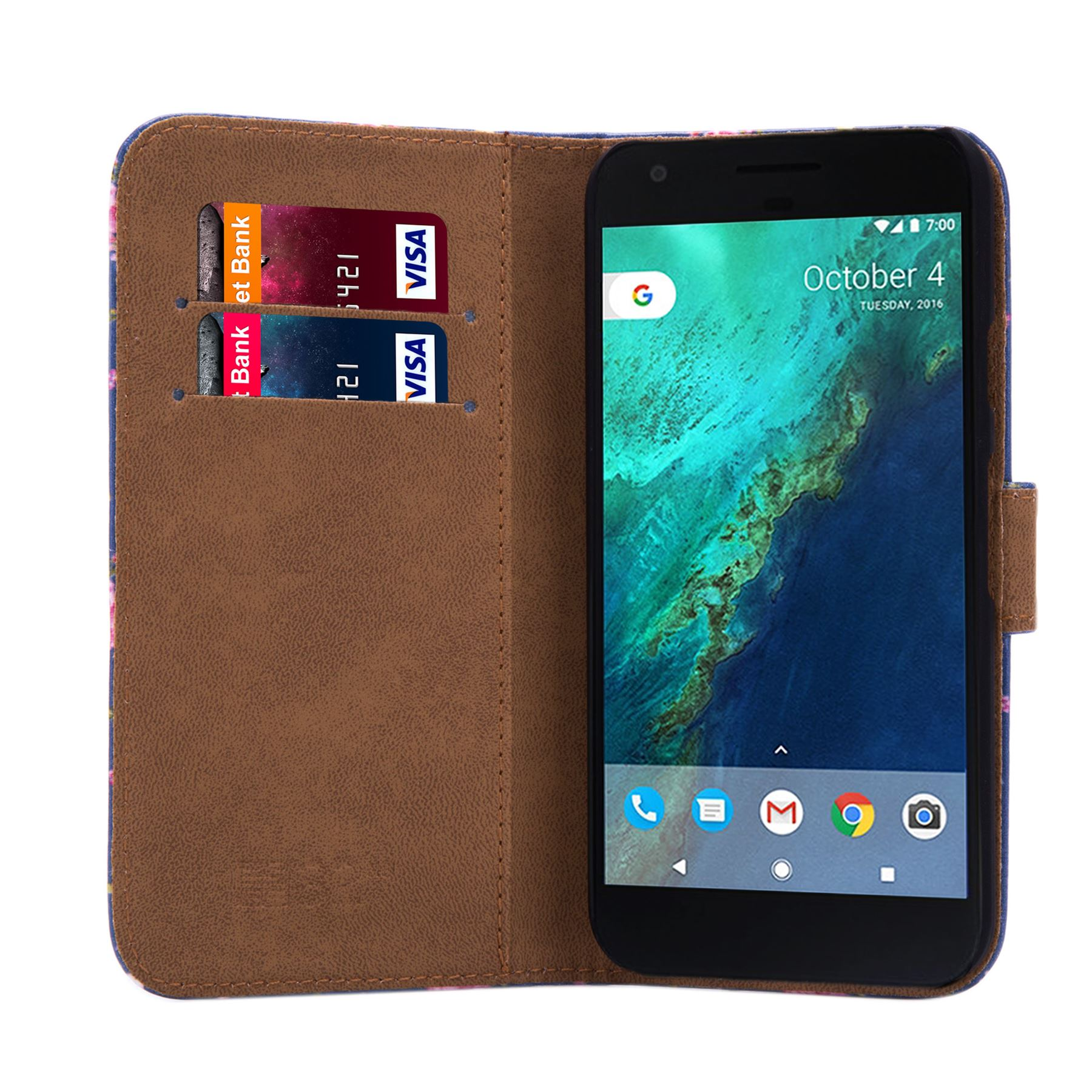 PU-Leather-Floral-Design-Book-Wallet-Case-Cover-For-Google-Pixel thumbnail 47