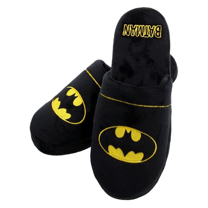UK Size 8//10 DC Batman Classic Logo Black Adult Mule Slip On Slippers