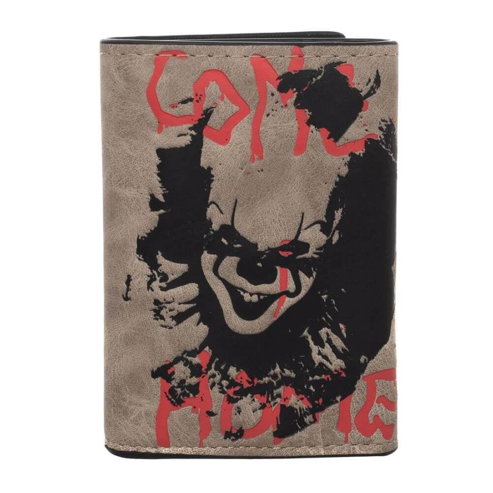 JOKER JESTER CLOWN TRIFOLD LEATHER WALLET WITH CHAIN