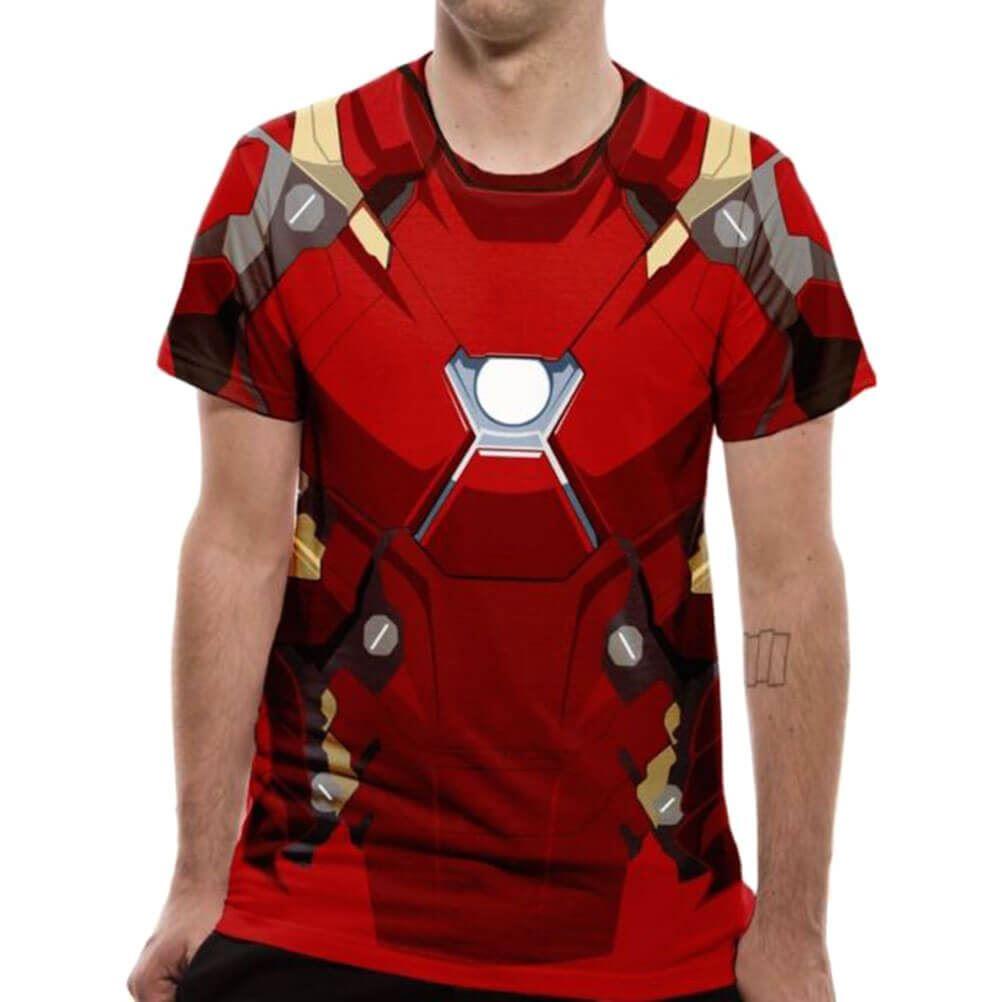 9eccea1f1 Hombre CIVIL GUERRA Iron Man Disfraz sublimado Camiseta | eBay