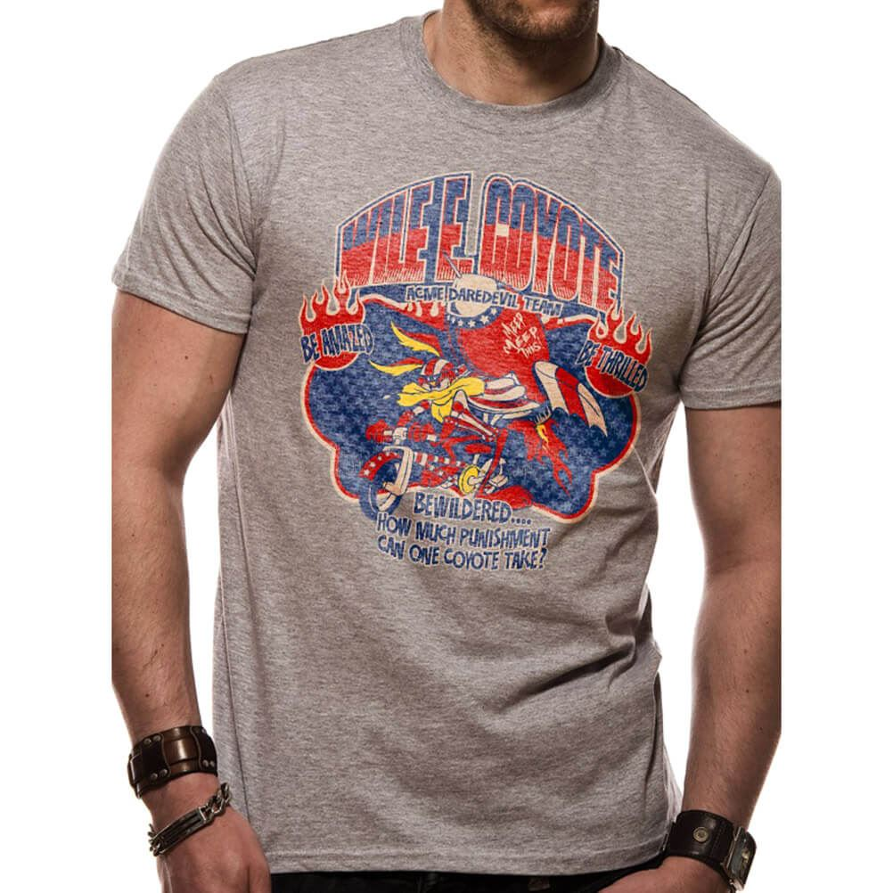 4bdb8d7479e39a Details about Official Men s Looney Tunes Wile E Coyote ACME Daredevil T- Shirt - Crew Neck