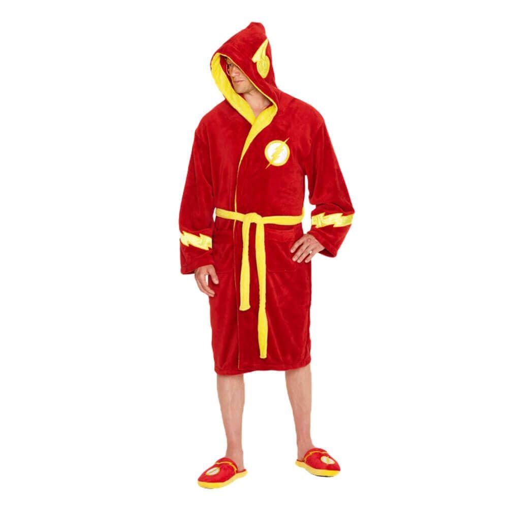 Amichevole Ufficiale Uomo Justice League Il Flash Logo Rosso Adulto Vestaglia Accappatoio-mostra Il Titolo Originale