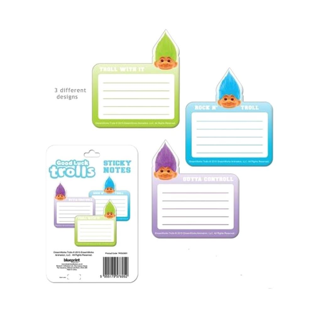 Official Good Luck Trolls Sticky Notes School Office Stationary